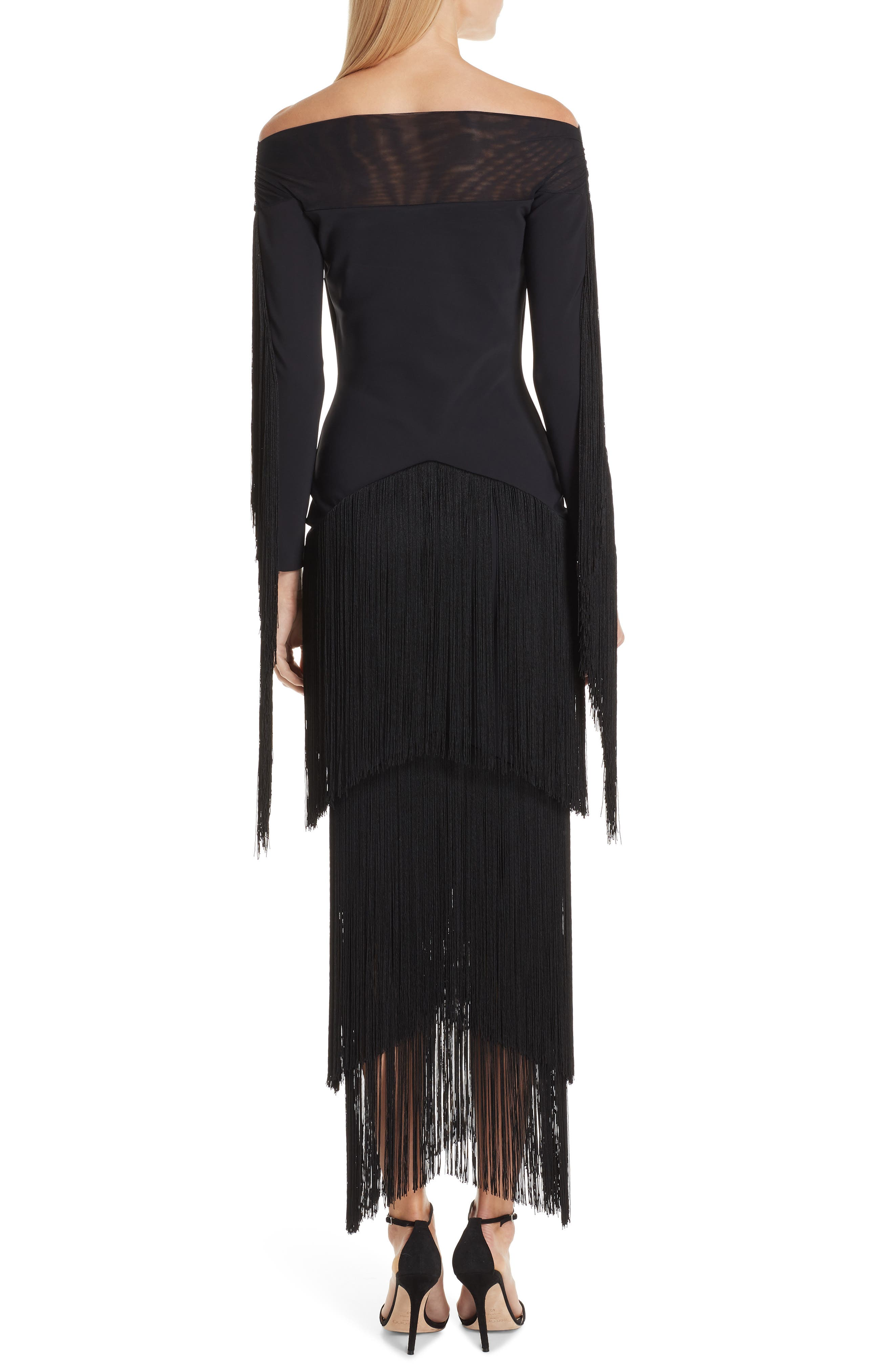 Hadel Fringe Trim Gown,                             Alternate thumbnail 2, color,                             BLACK