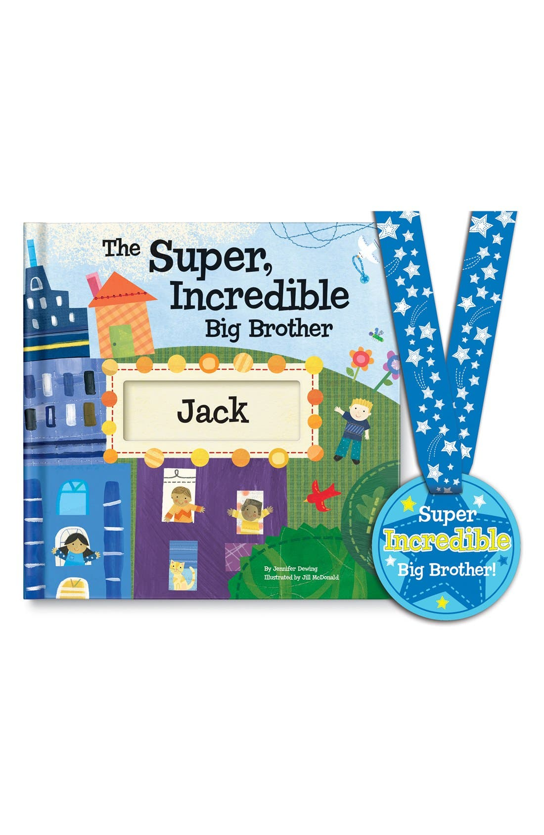 'The Super, Incredible Big Brother' Personalized Hardcover Book & Medal,                             Main thumbnail 1, color,                             BLUE