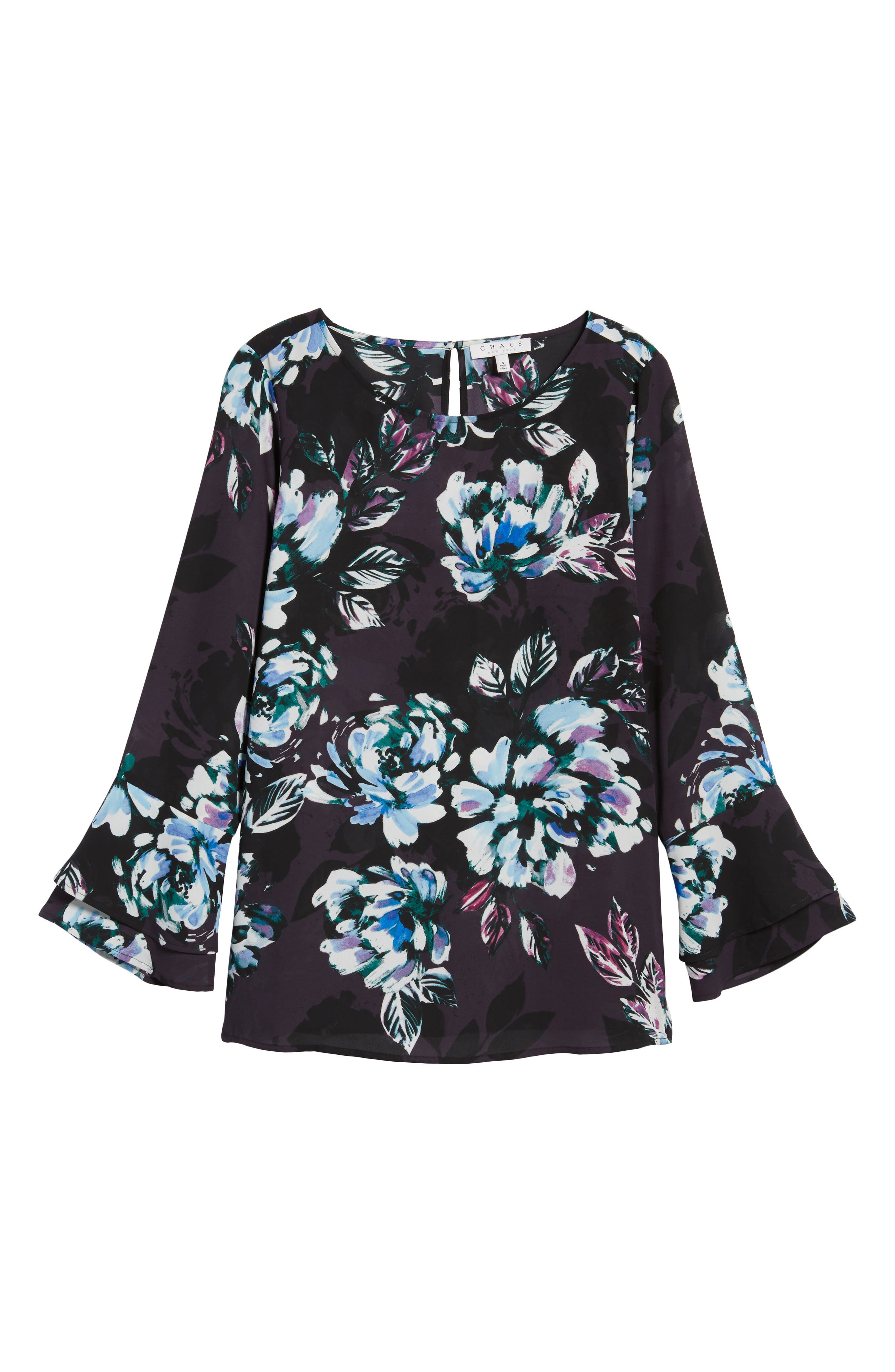 Twilight Blooms Bell Sleeve Blouse,                             Alternate thumbnail 6, color,                             006