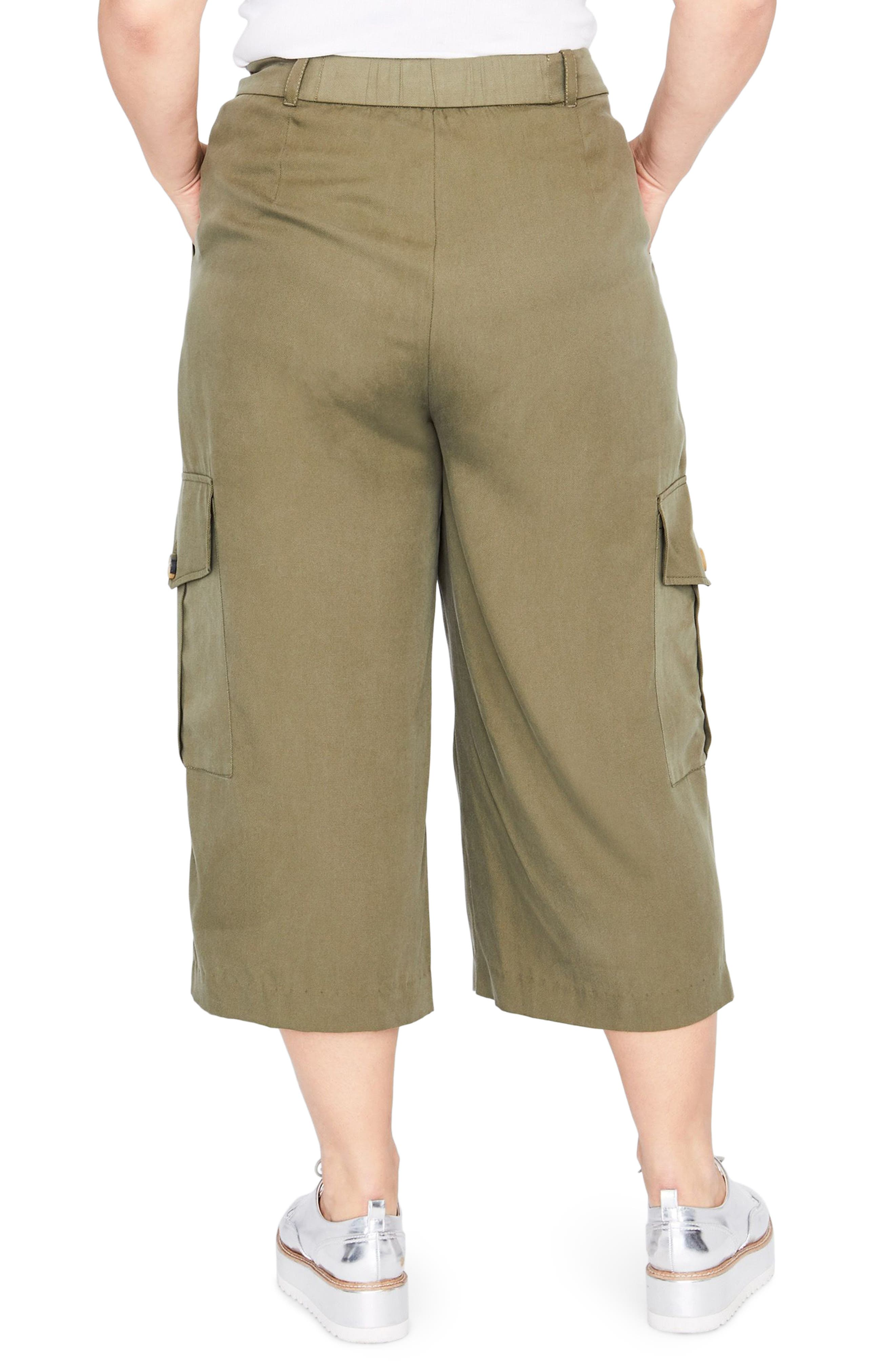 Crop Cargo Pants,                             Alternate thumbnail 2, color,                             ARMY GREEN
