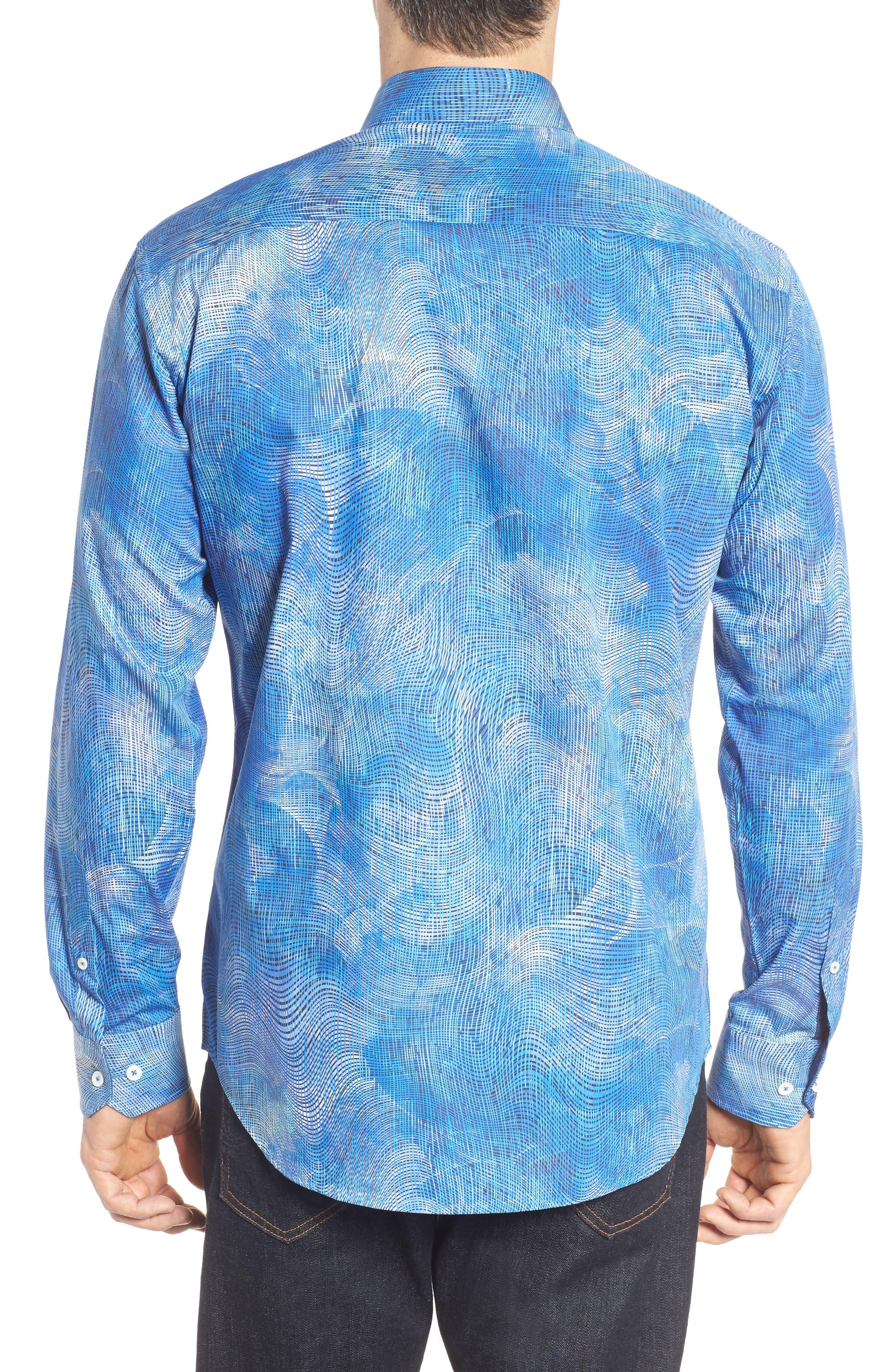 Shaped Fit Print Sport Shirt,                             Alternate thumbnail 2, color,                             424