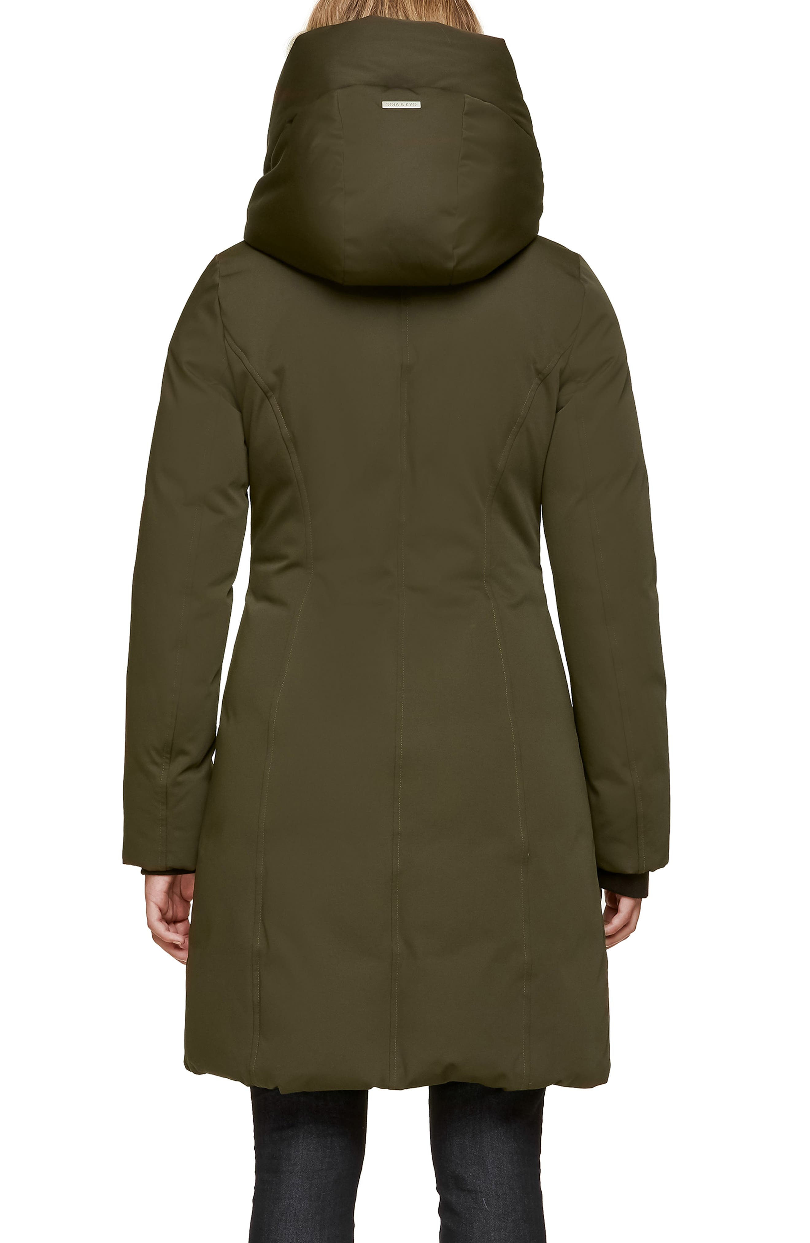 SOIA & KYO,                             Slim Fit Hooded Down Coat,                             Alternate thumbnail 2, color,                             ARMY