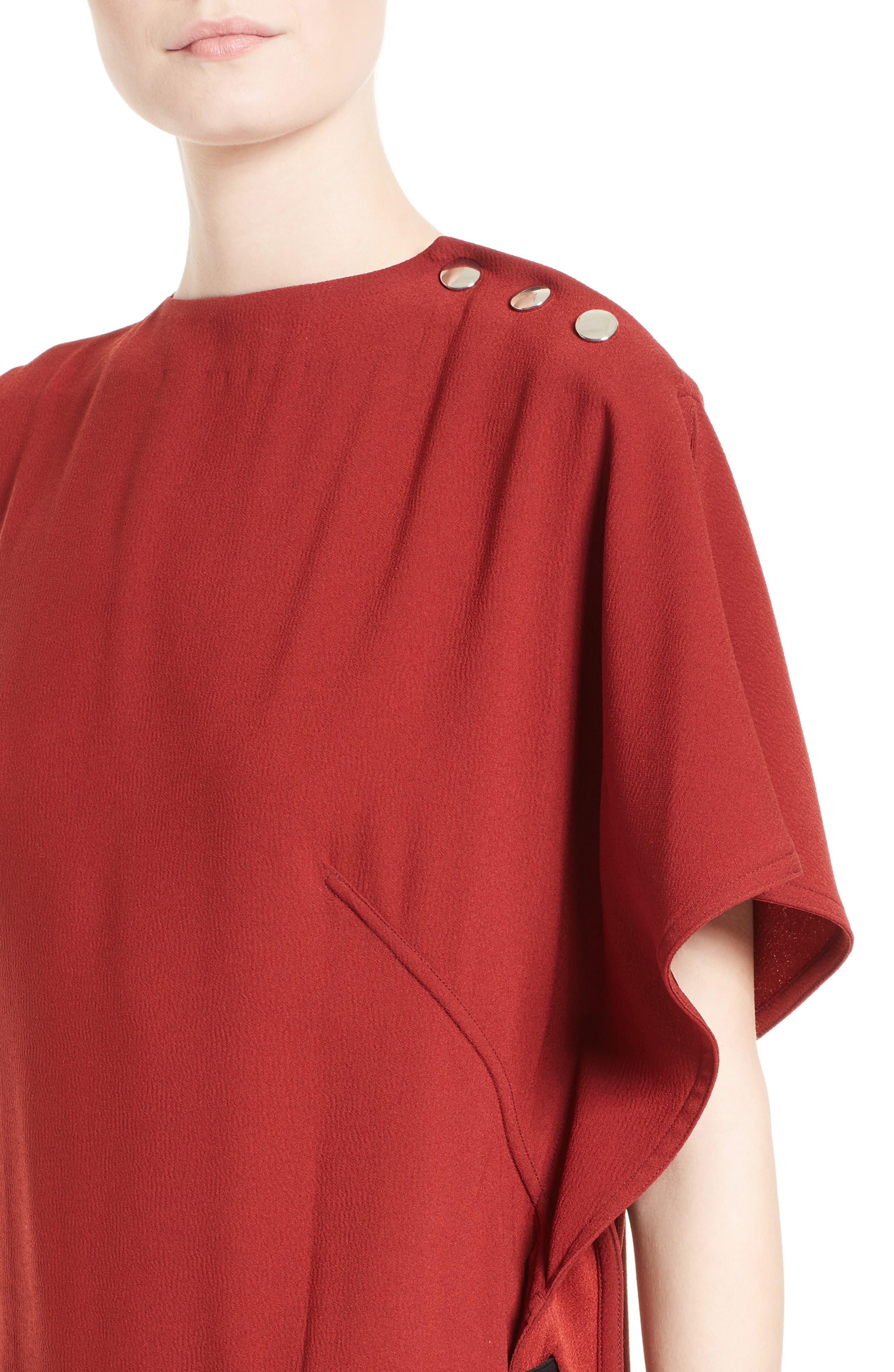 Crepe Asymmetrical Dress,                             Alternate thumbnail 4, color,