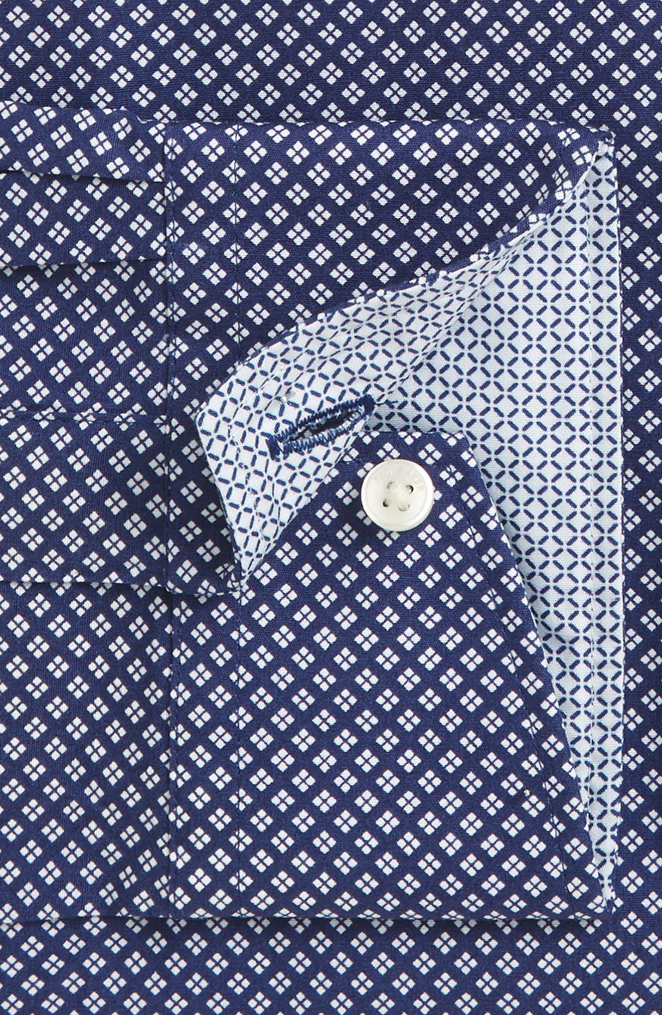 Agra Trim Fit Geometric Dress Shirt,                             Alternate thumbnail 3, color,                             410