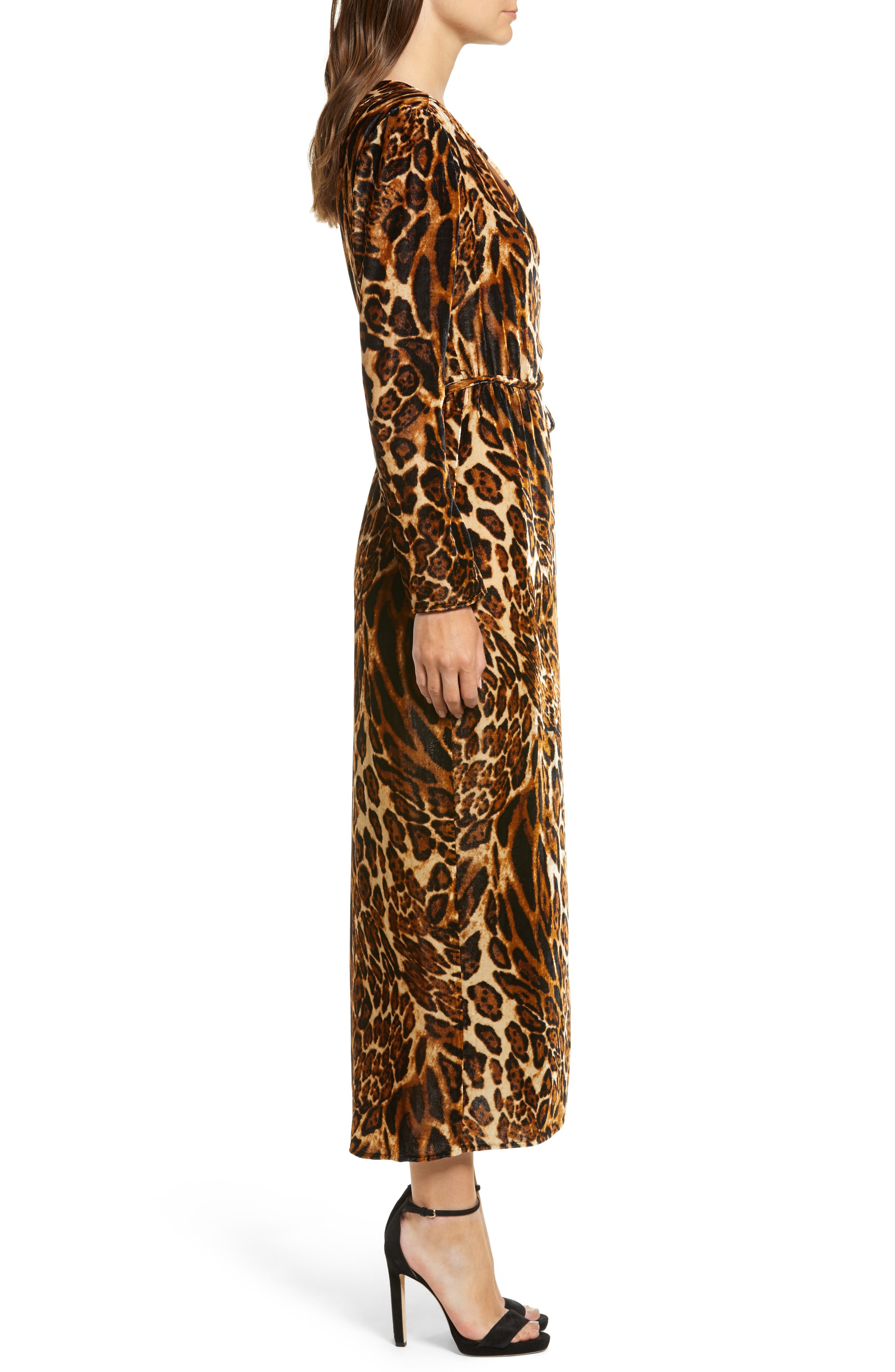 Gwyneth Velvet Wrap Midi Dress,                             Alternate thumbnail 3, color,                             LEOPARD