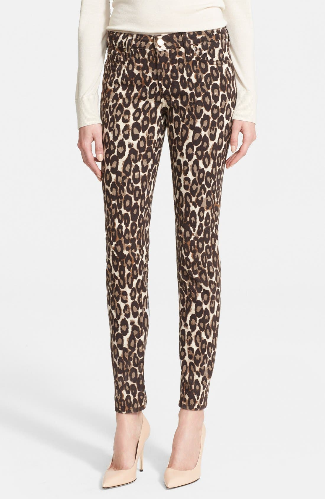 'broome street' leopard print jeans,                             Main thumbnail 1, color,                             200