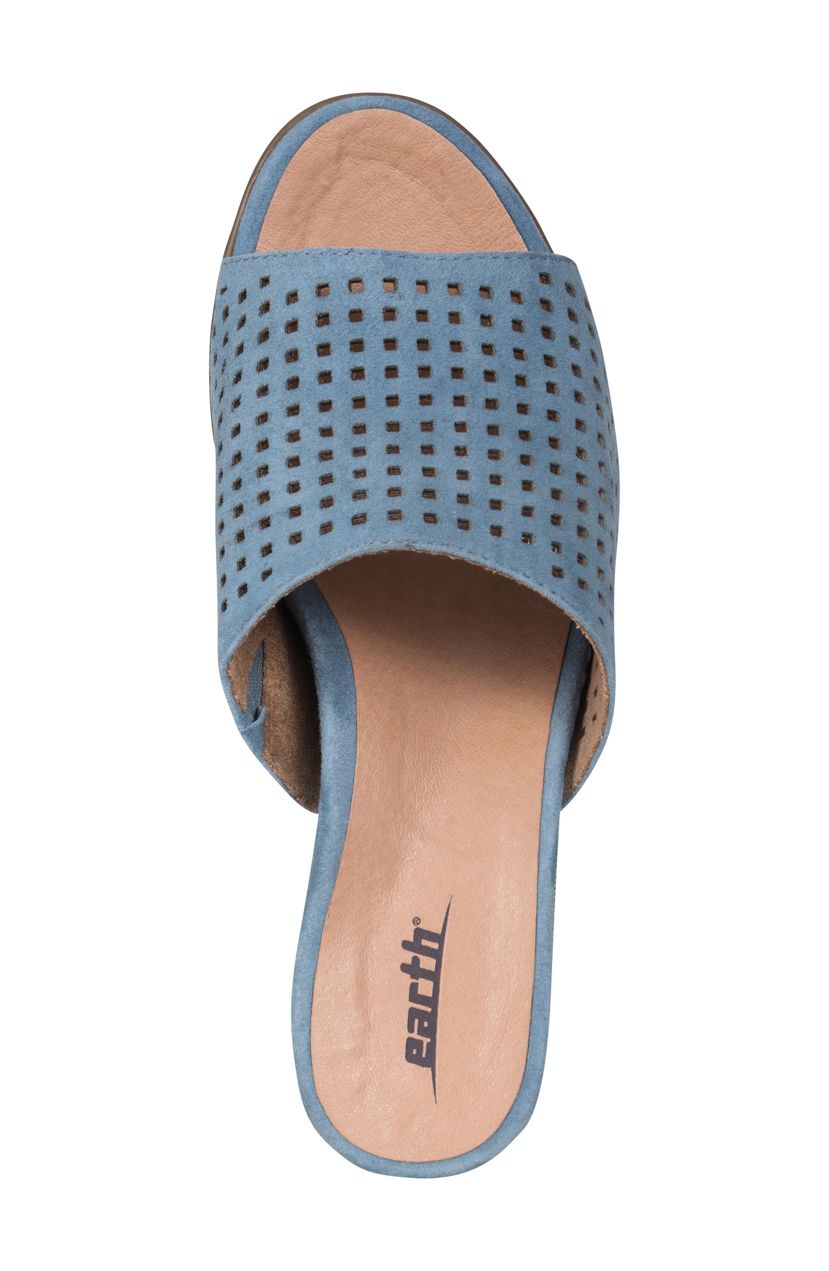Ibiza Perforated Sandal,                             Alternate thumbnail 5, color,                             SKY BLUE SUEDE