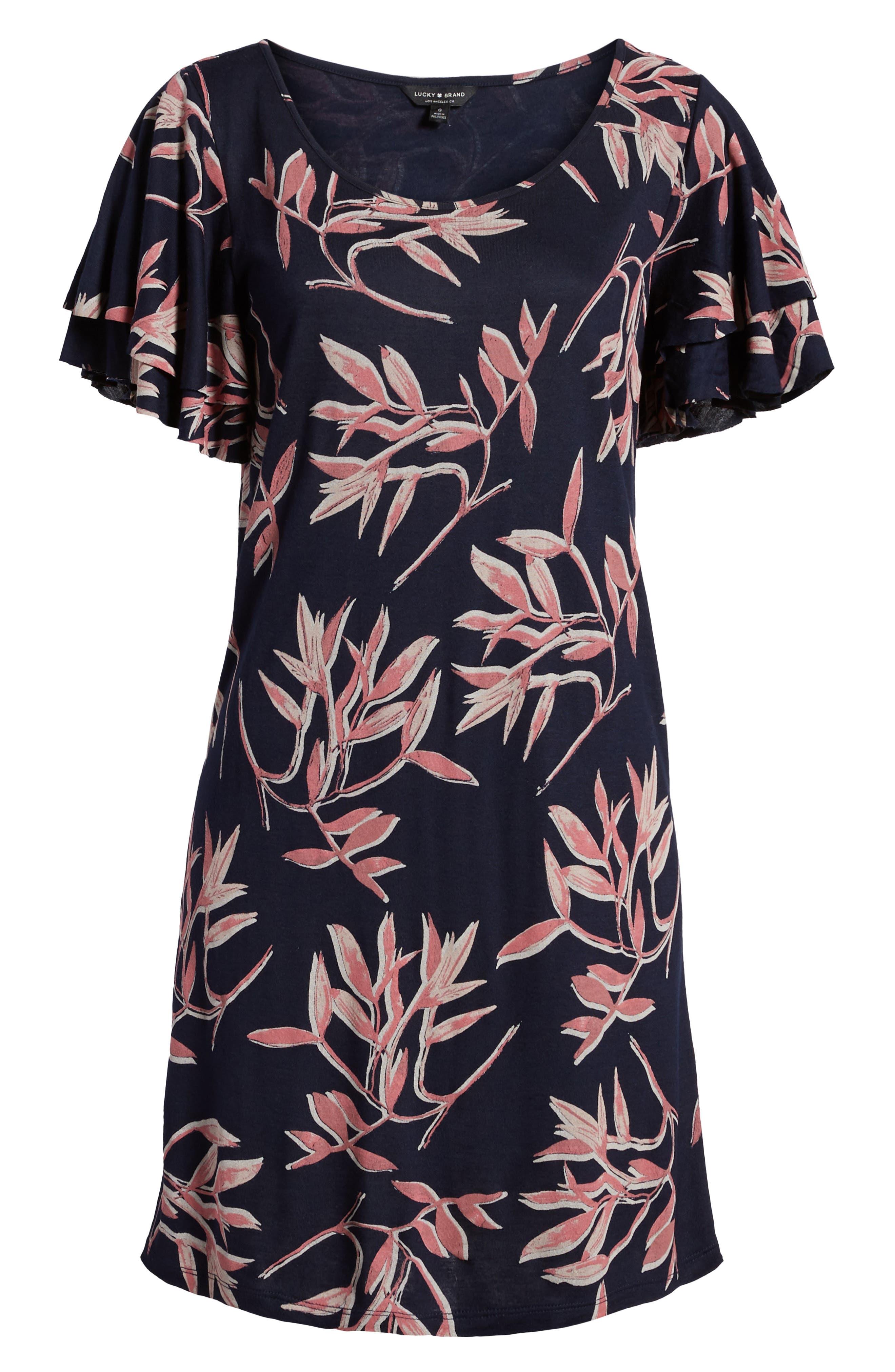 Printed Ruffle Sleeve Dress,                             Alternate thumbnail 7, color,                             490