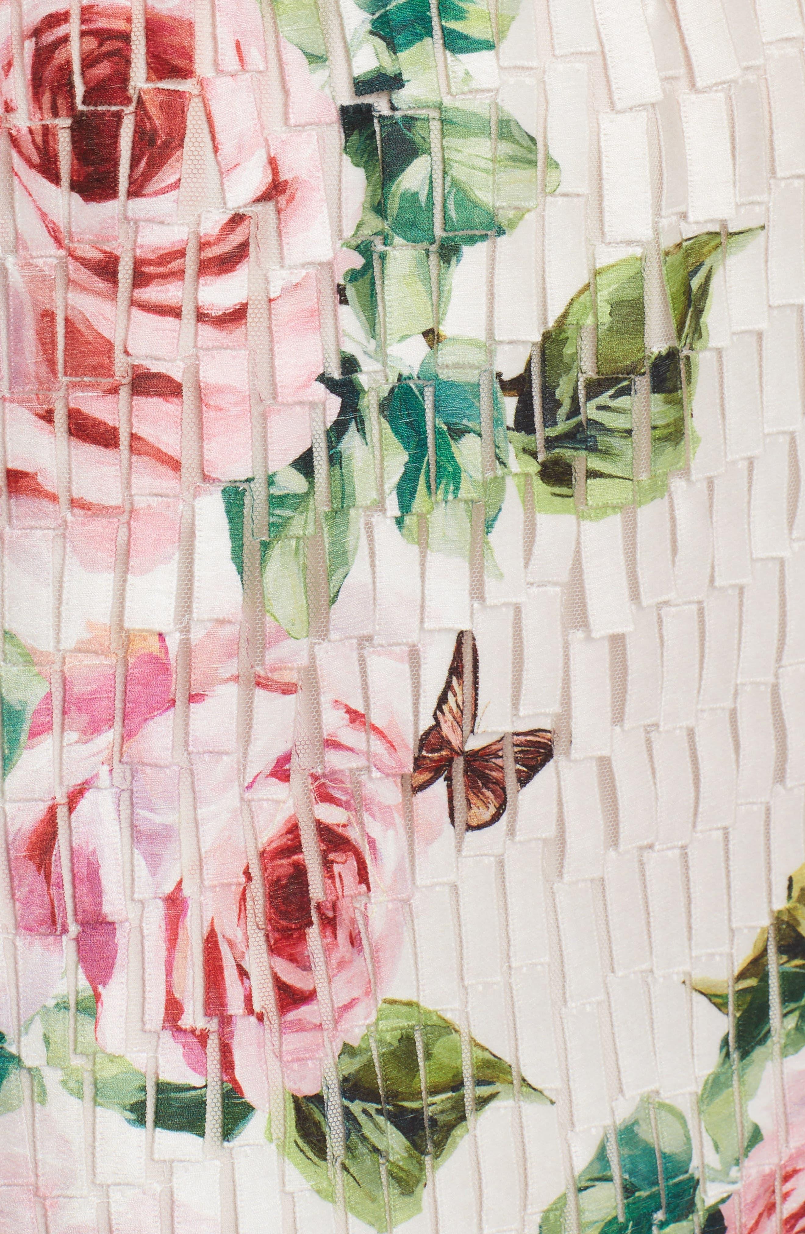 Rose Print Fringe Skirt,                             Alternate thumbnail 5, color,                             680