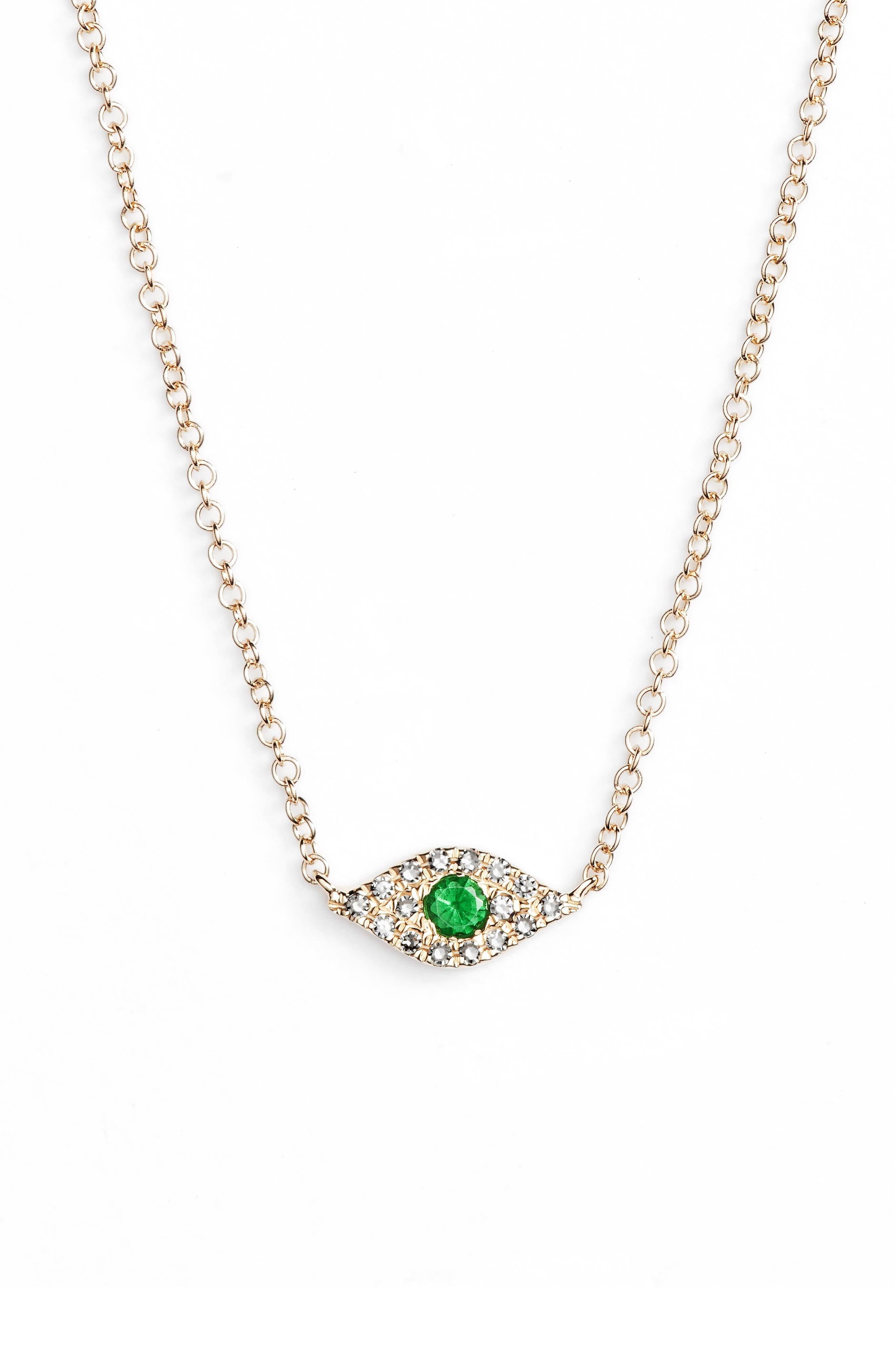 Evil Eye Diamond & Sapphire Pendant Necklace,                         Main,                         color, YELLOW GOLD/ TSAVORITE