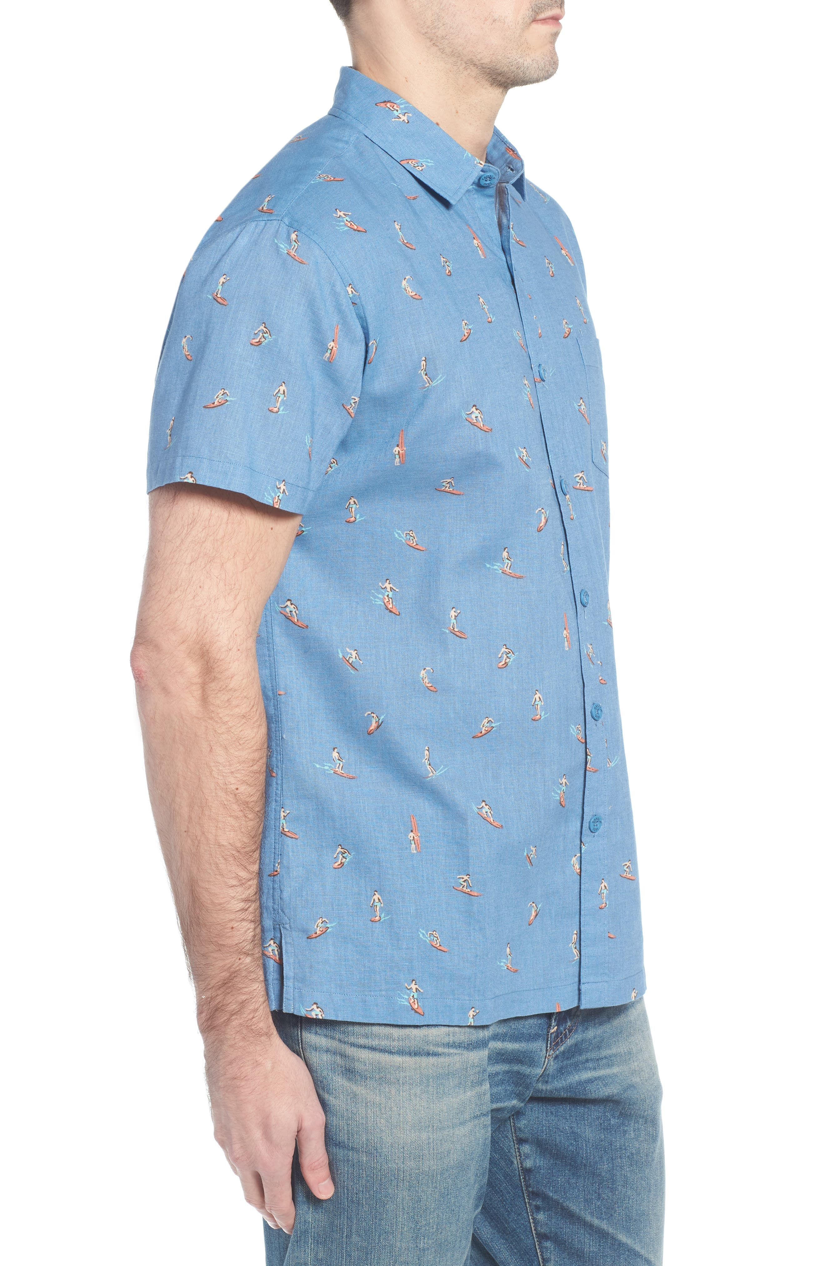 Waveriders Trim Fit Print Sport Shirt,                             Alternate thumbnail 3, color,                             CHAMBRAY