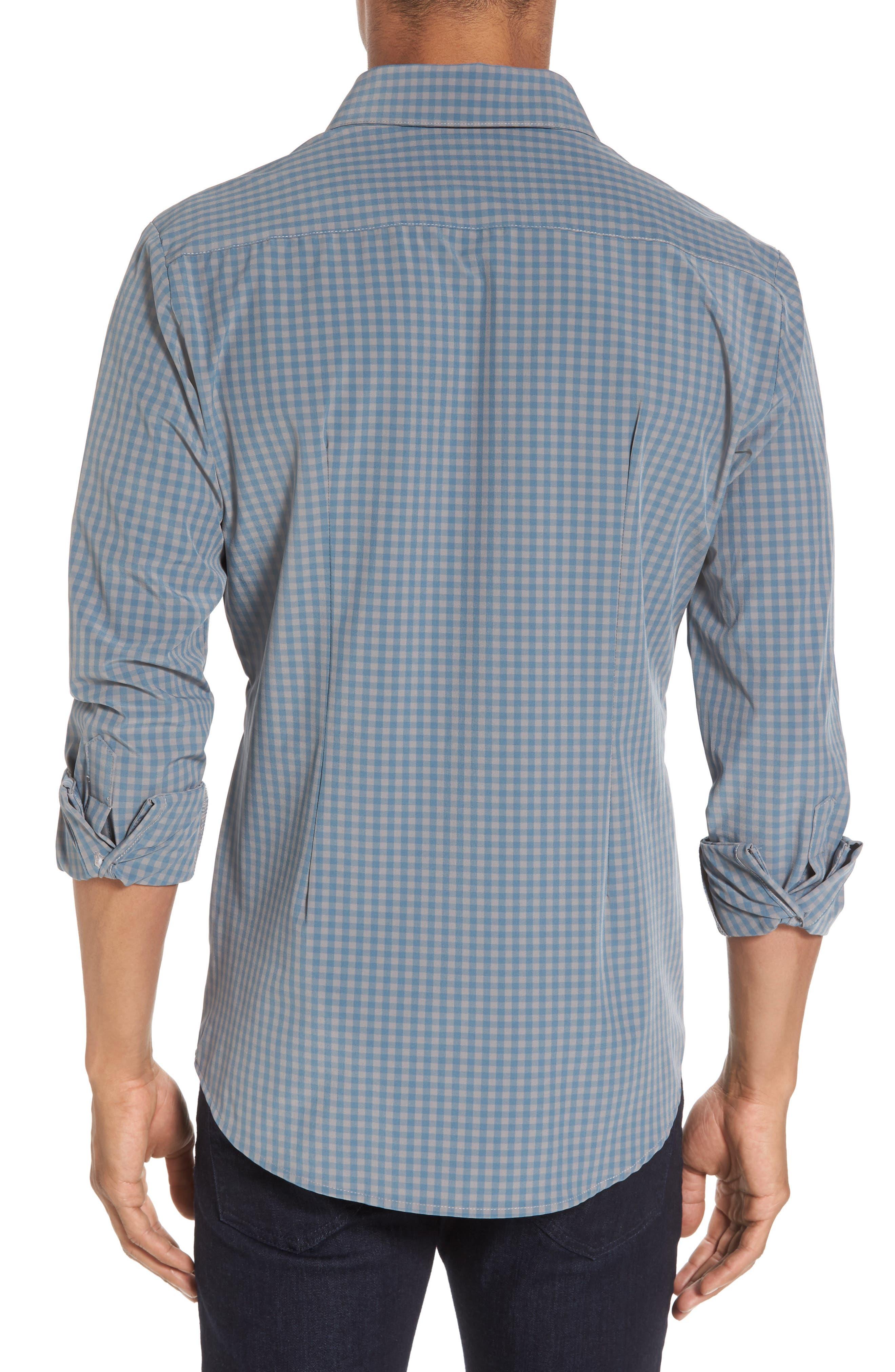 Knox Blue Smoke & Grey Gingham Sport Shirt,                             Alternate thumbnail 2, color,                             400