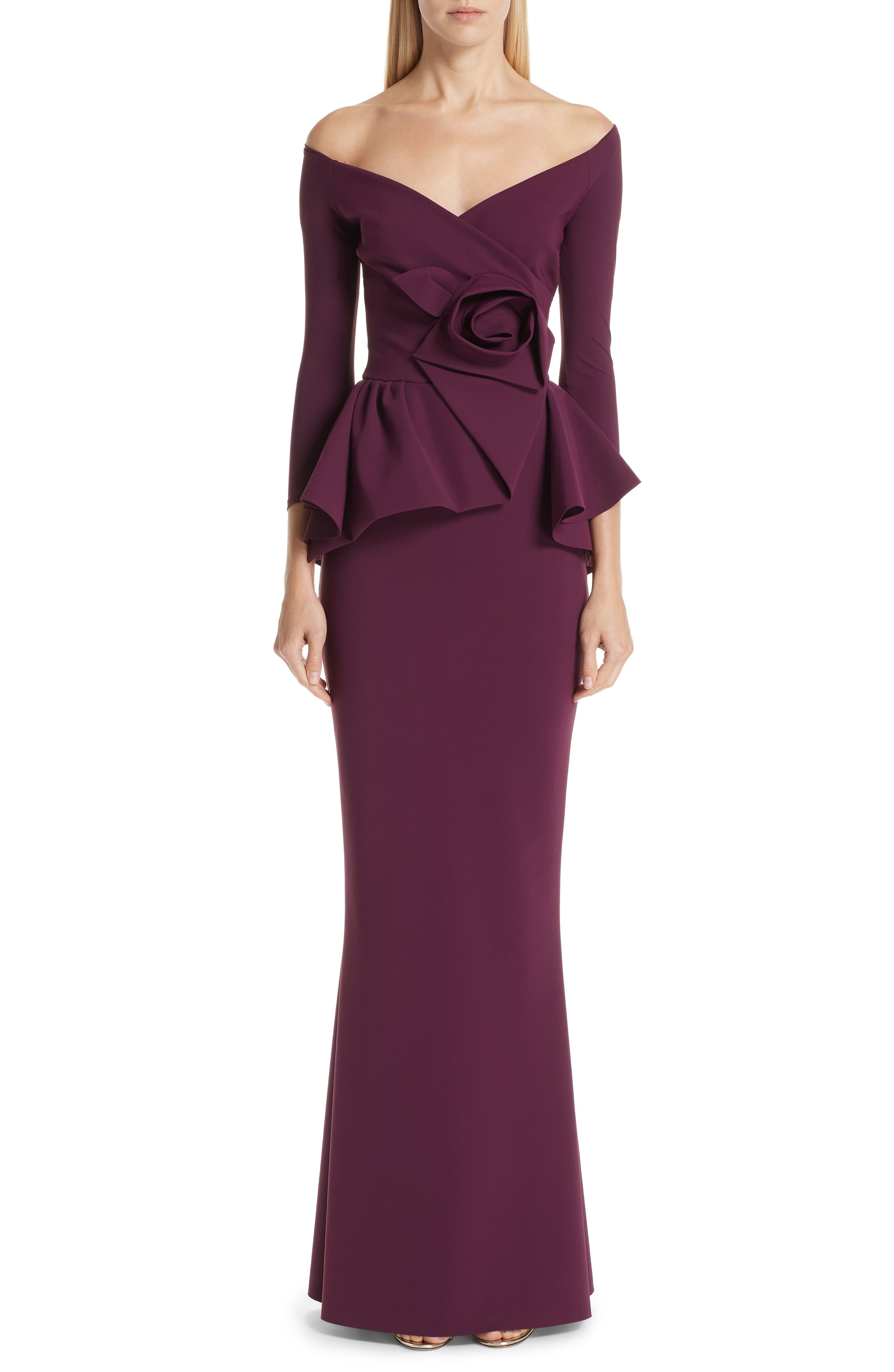 Chiara Boni La Petite Robe Almunda Off The Shoulder Peplum Gown