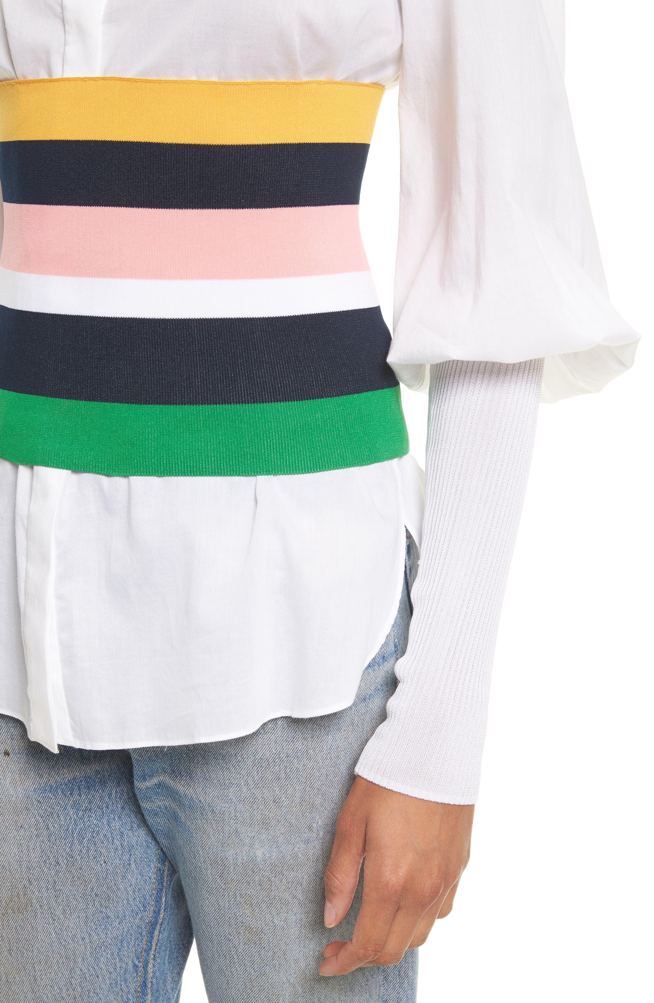 Rib Knit Stripe Tube Corset,                             Alternate thumbnail 4, color,                             001