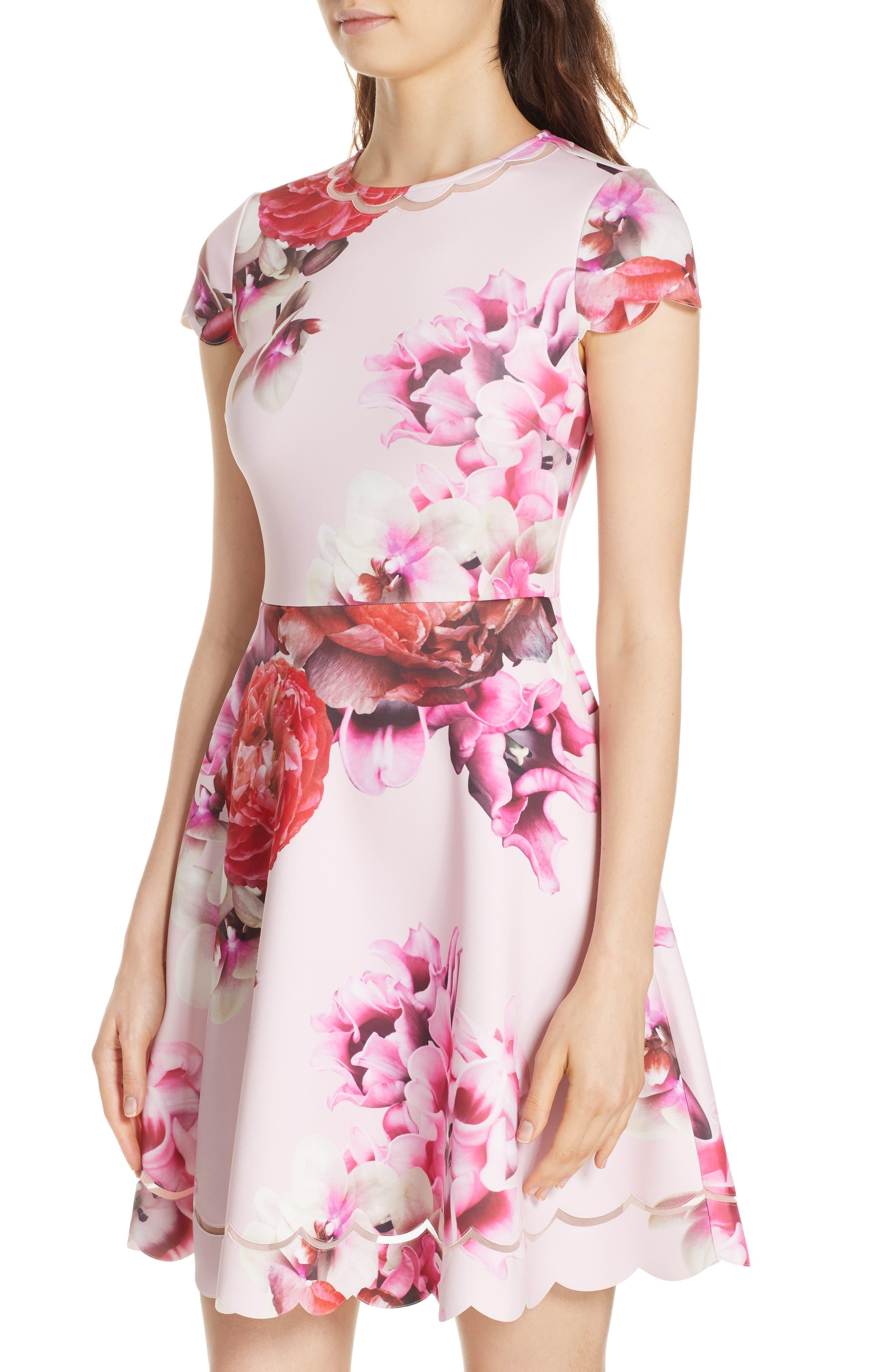 Seeana Splendour Skater Dress,                             Alternate thumbnail 4, color,                             683