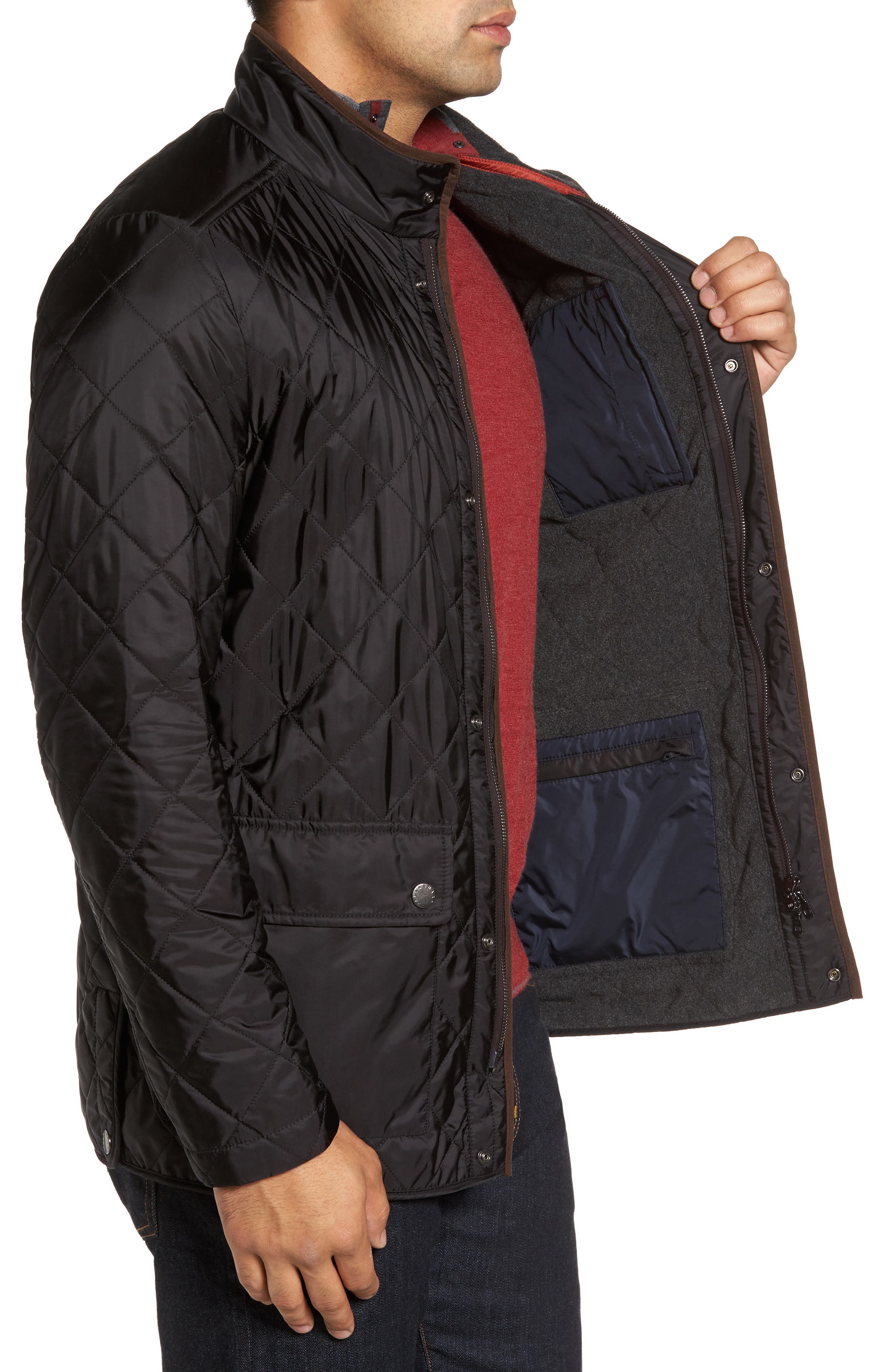 Paul&Shark Fleece Lined Quilted Jacket,                             Alternate thumbnail 3, color,                             001