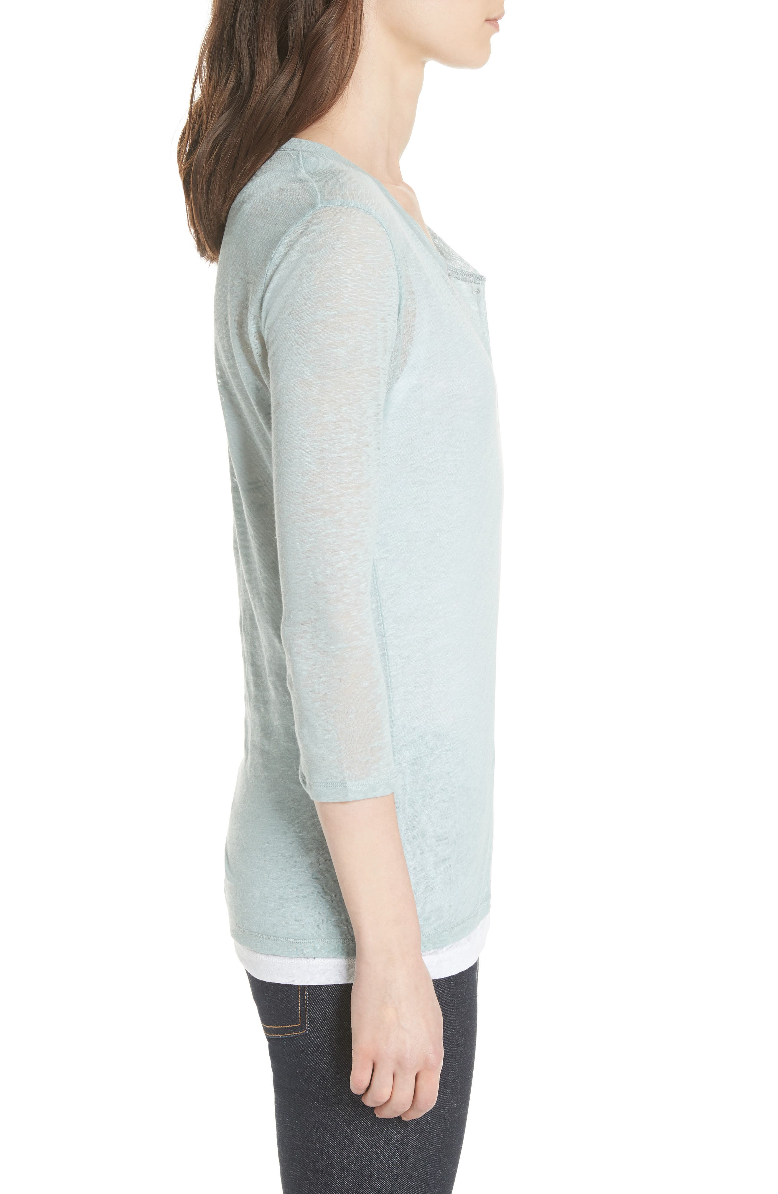 Double Layer Henley Top,                             Alternate thumbnail 3, color,                             ECUME/ BLANC