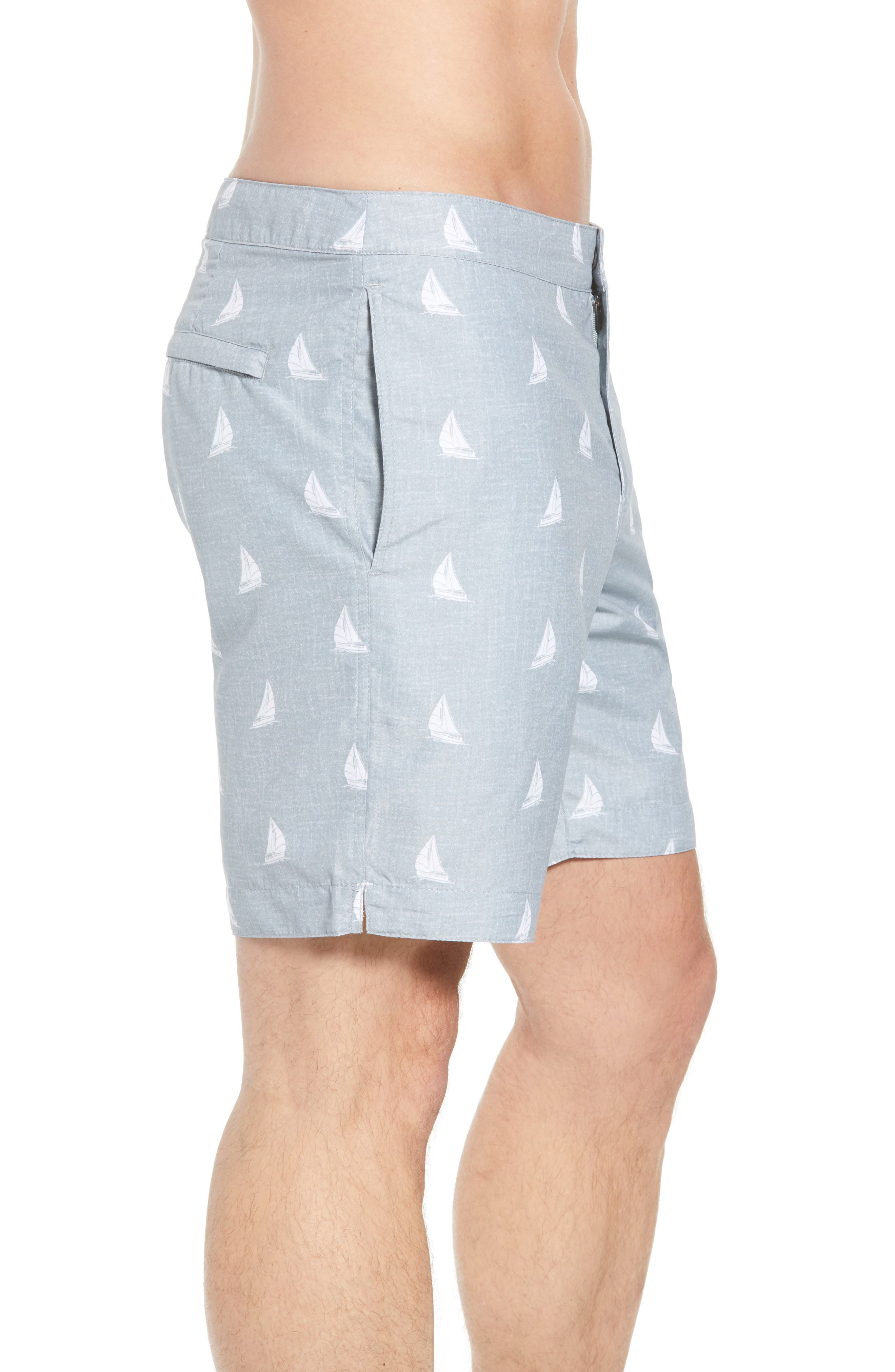 Aruba Slim Fit Swim Trunks,                             Alternate thumbnail 3, color,                             HEATHERED GREY SAILBOATS
