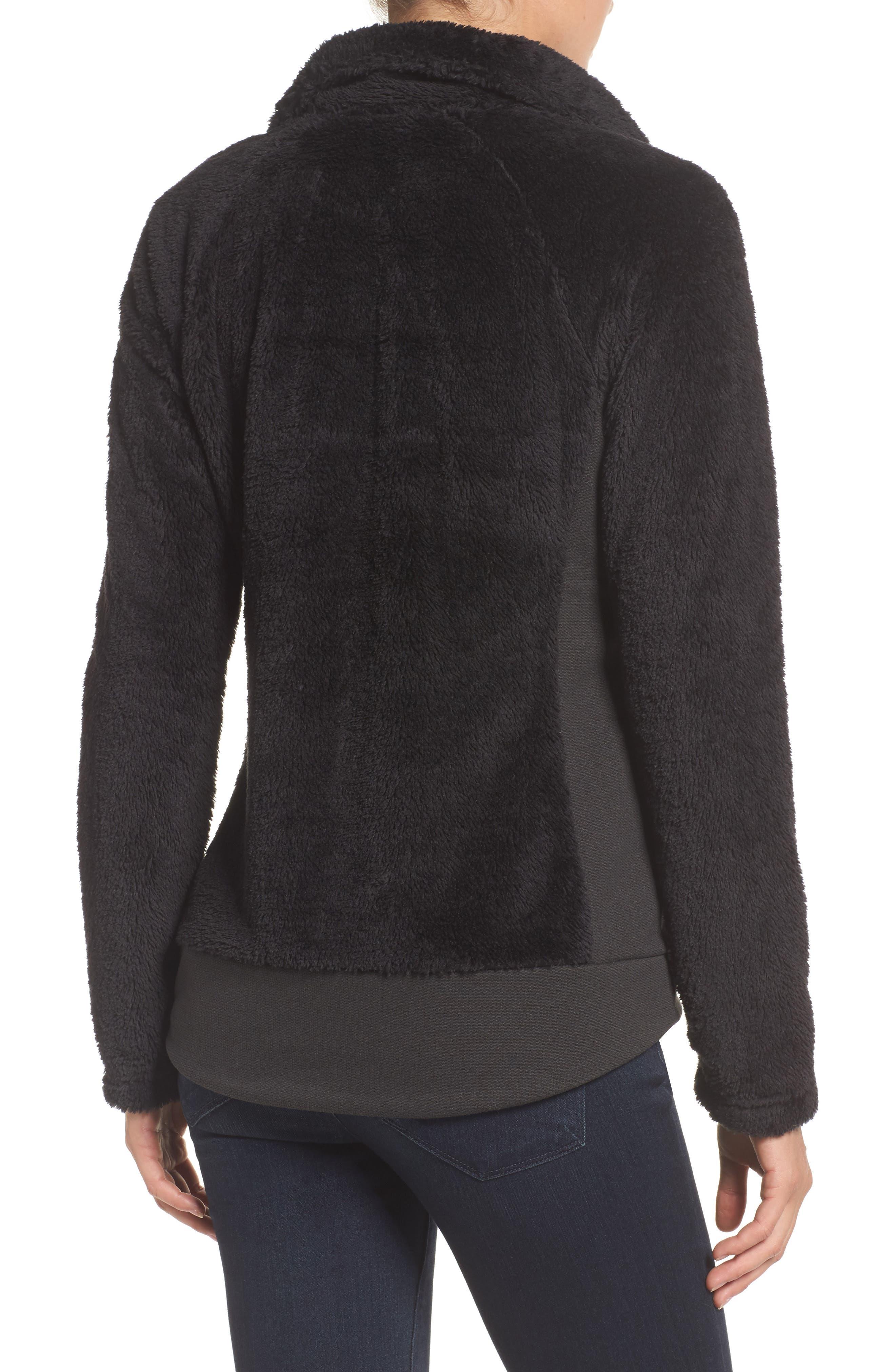 Furry Fleece Jacket,                             Alternate thumbnail 2, color,                             TNF BLACK