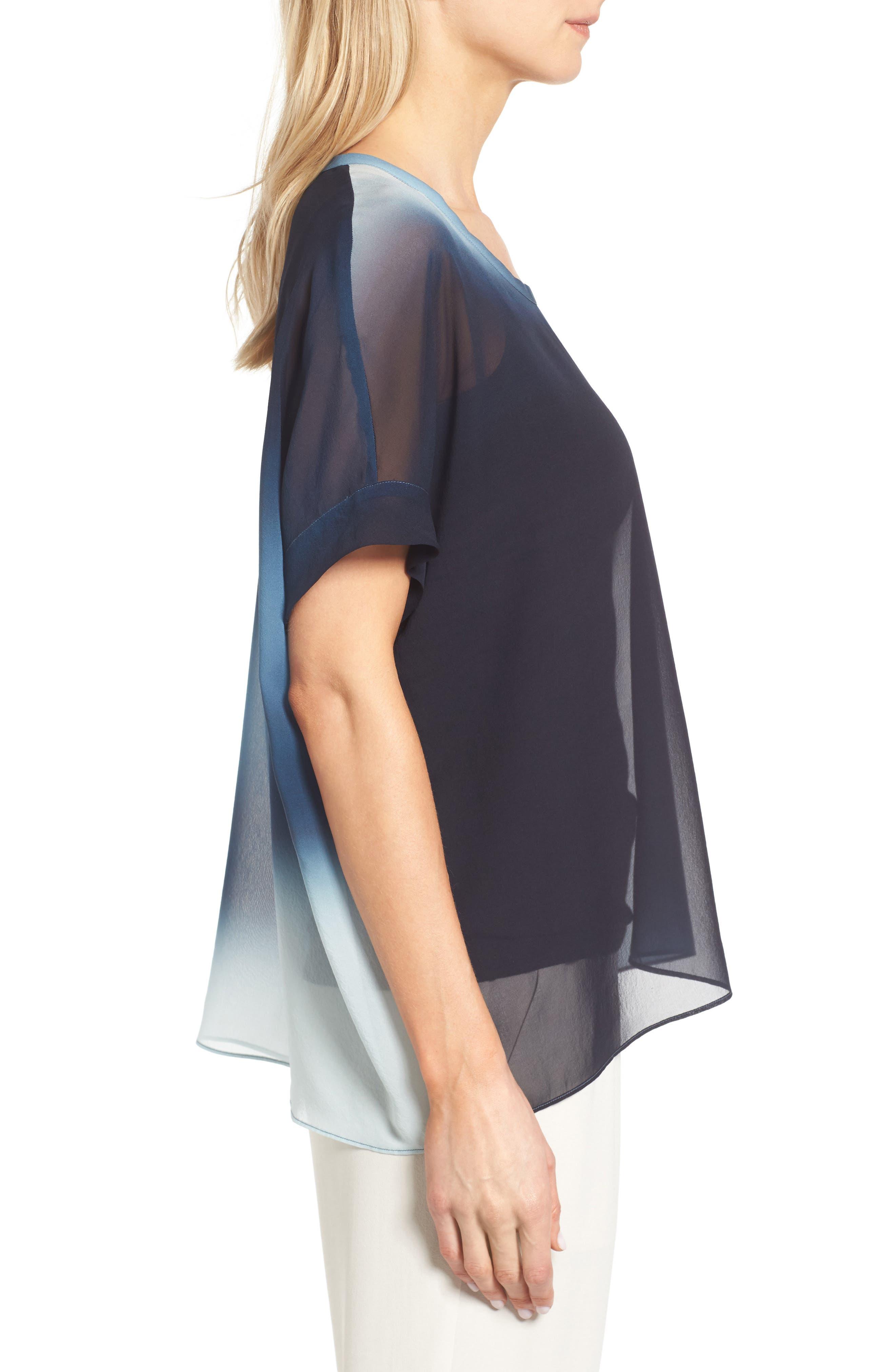Ombré Silk Short Sleeve Top,                             Alternate thumbnail 8, color,