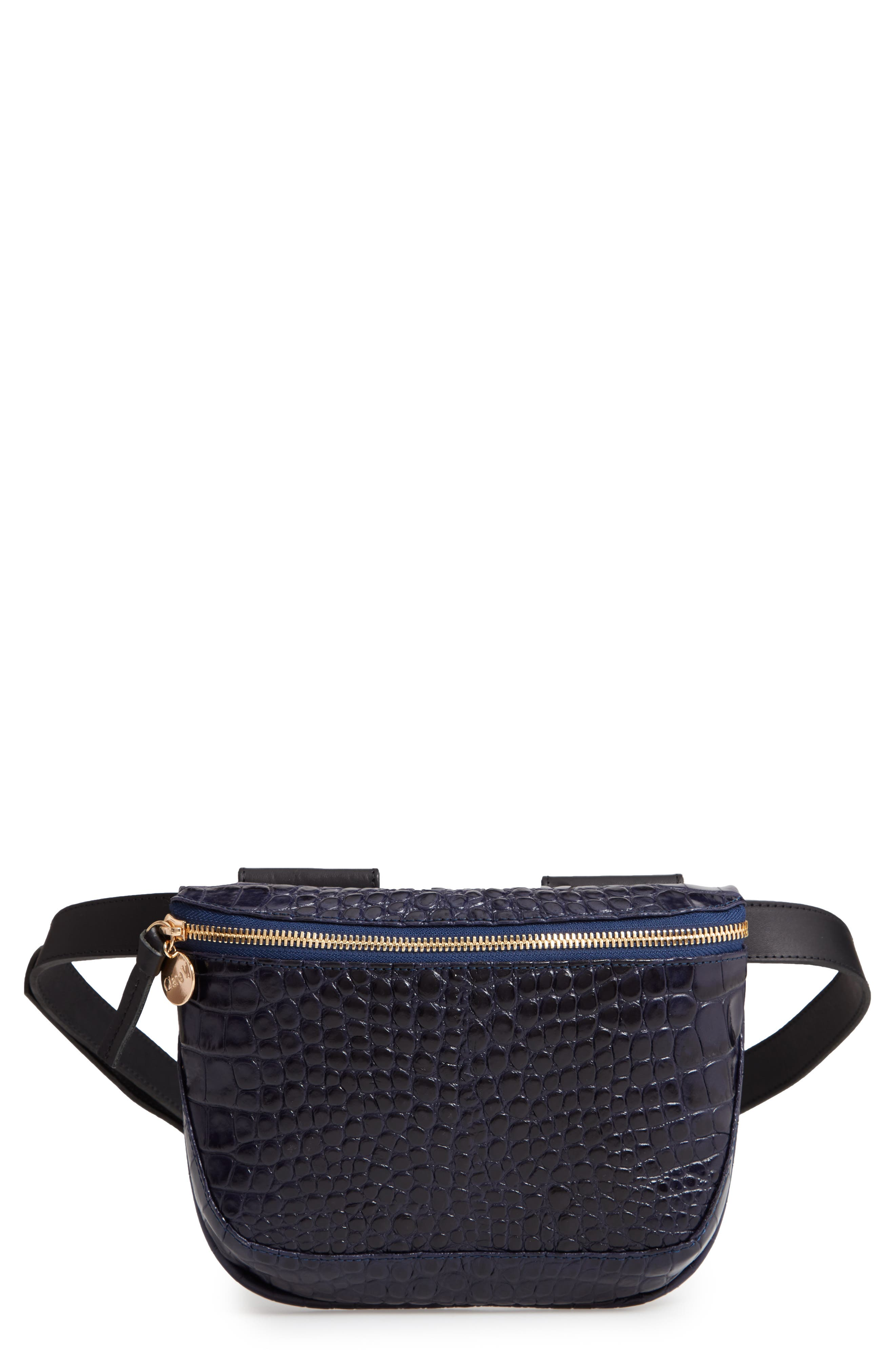 CLARE V Croc Embossed Leather Fanny Pack - Black in Midnight Croco