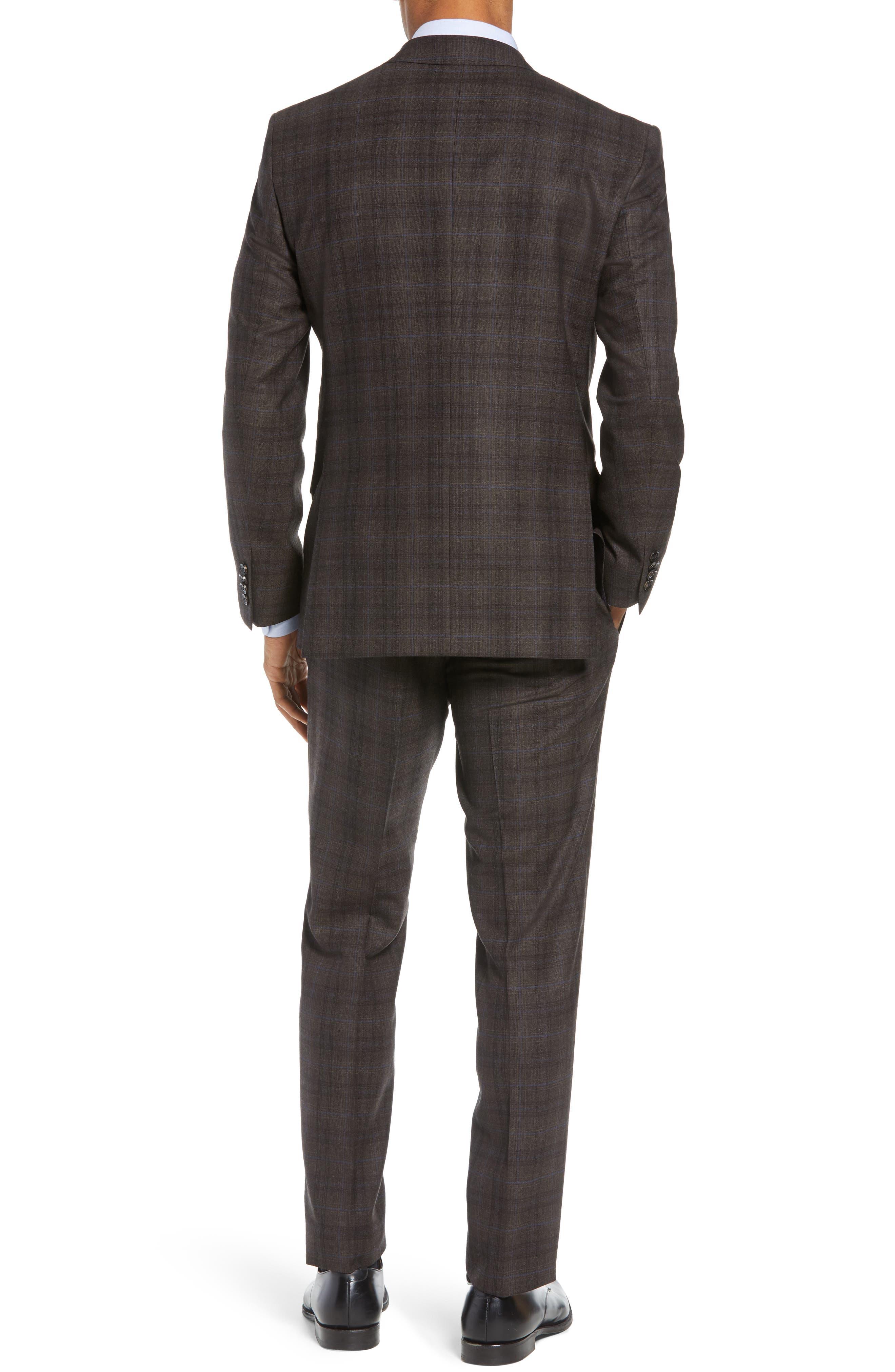 Jay Trim Fit Plaid Wool Suit,                             Alternate thumbnail 2, color,                             BROWN PLAID