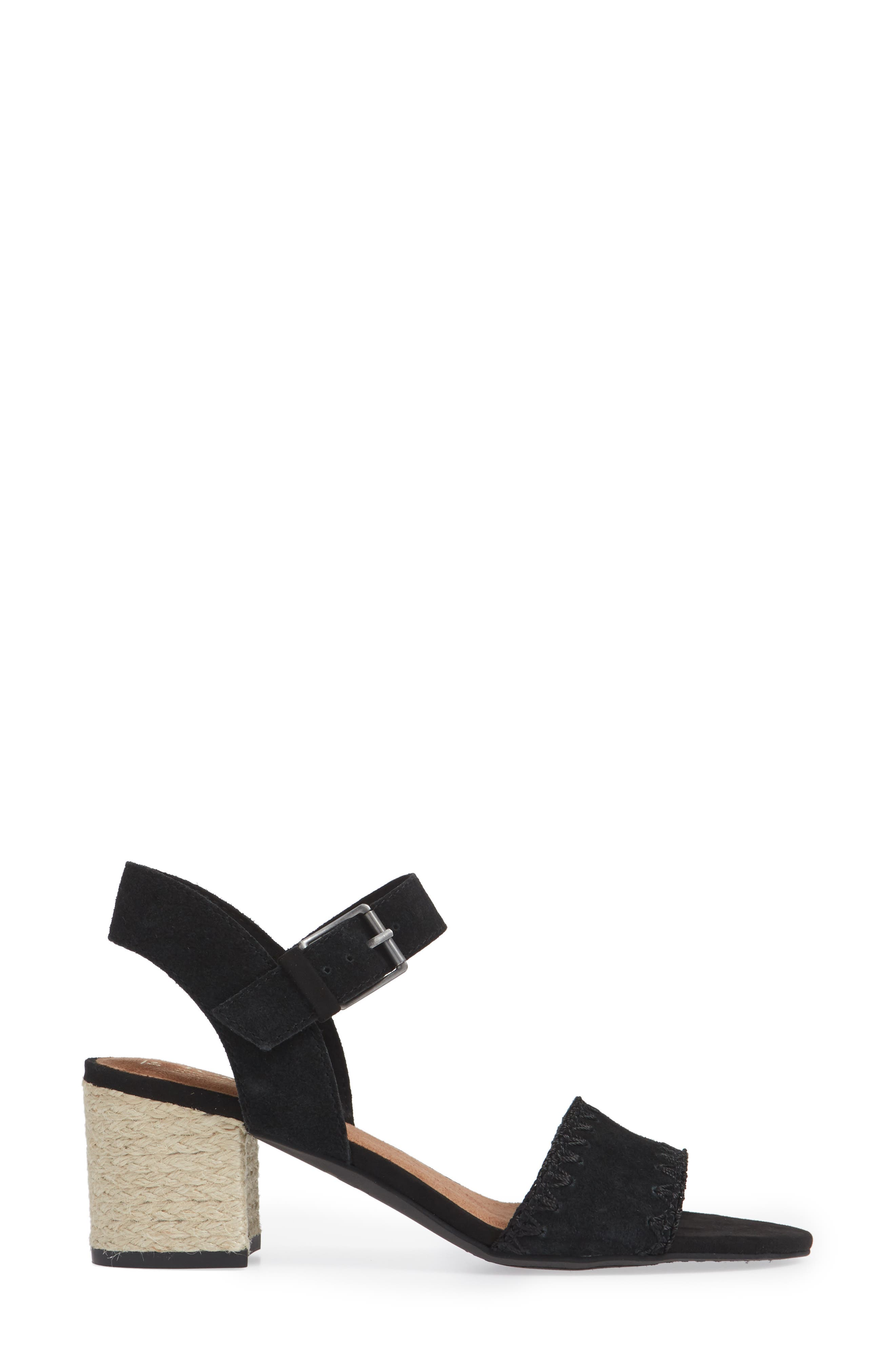 Rosa Sandal,                             Alternate thumbnail 3, color,                             BLACK SUEDE