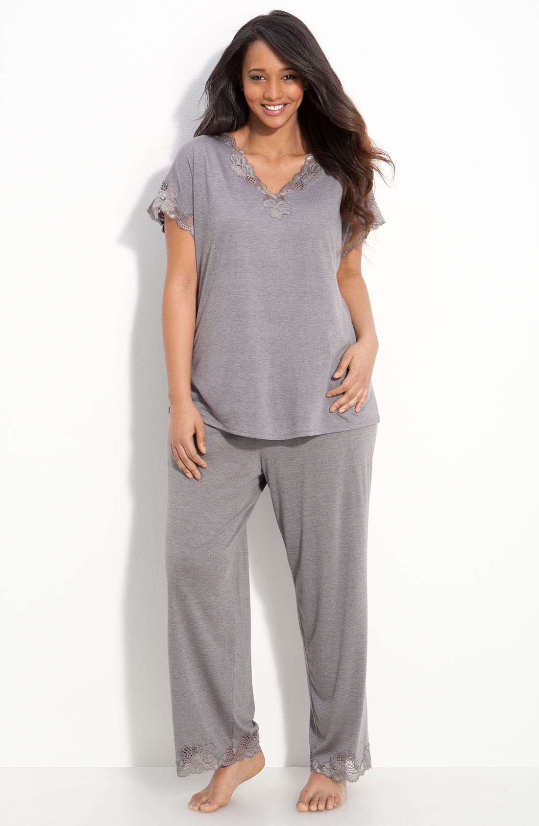 'Zen Floral' Pajamas,                             Main thumbnail 1, color,                             PASTEL GREY