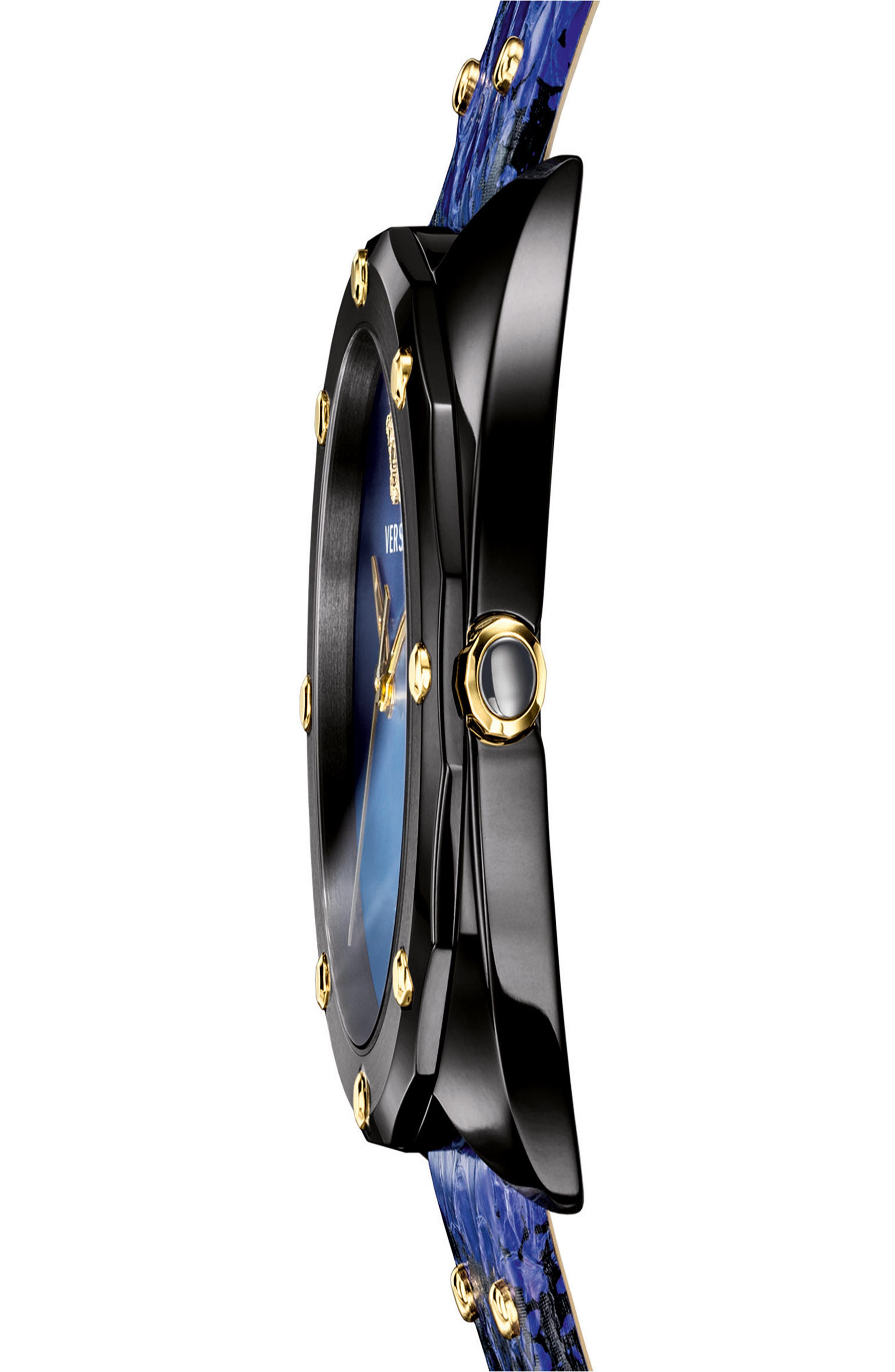 VERSACE,                             Shadov Snakeskin Leather Strap Watch, 38mm,                             Alternate thumbnail 3, color,                             BLUE/ BLACK