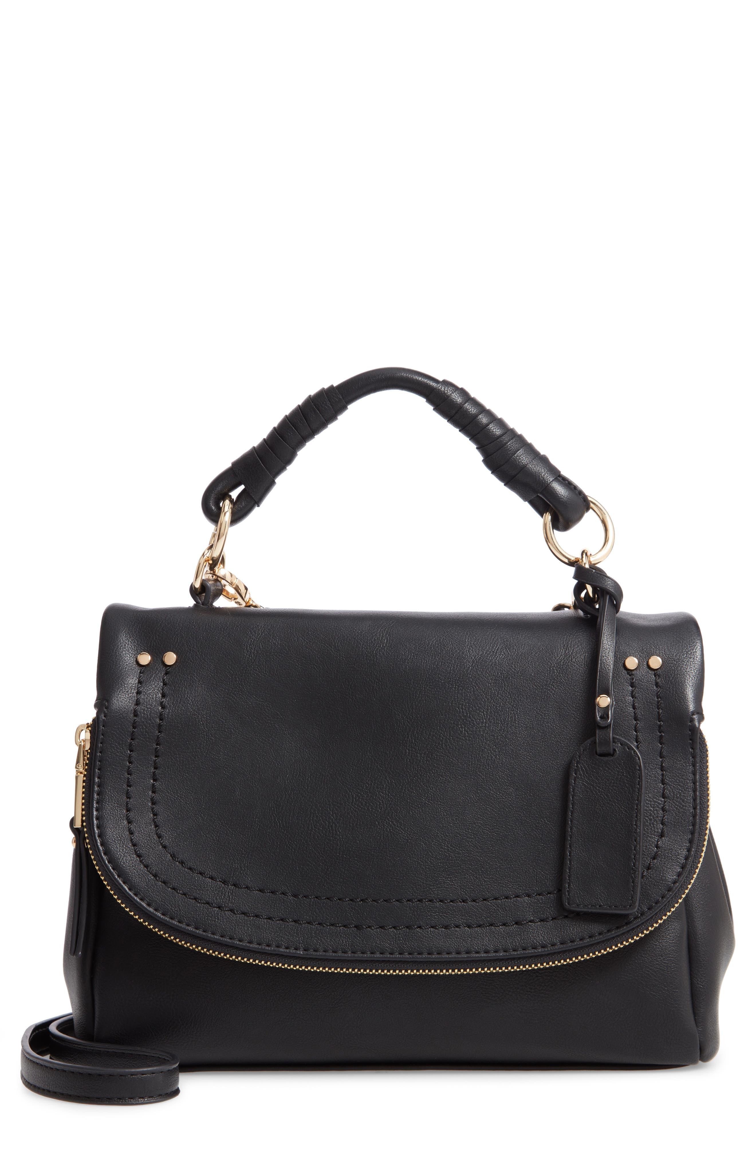 Rubie Faux Leather Crossbody Bag,                             Main thumbnail 1, color,                             BLACK
