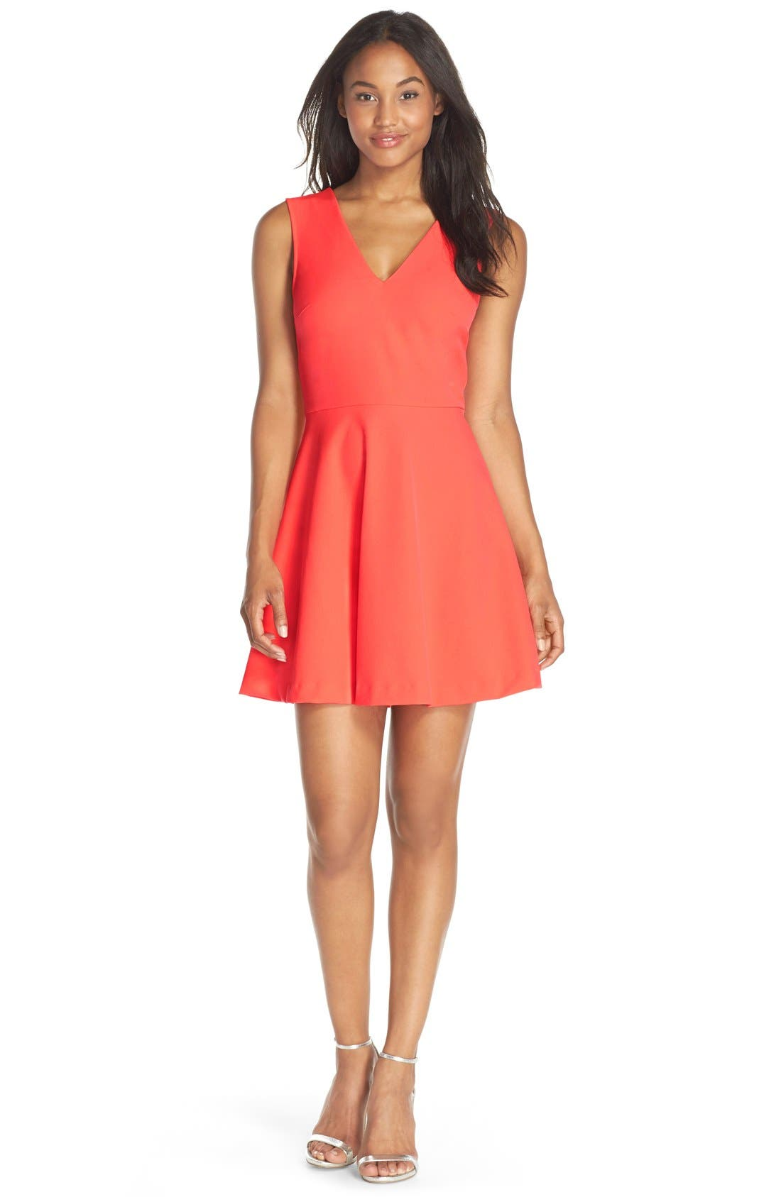 Bianca Back Cutout Fit & Flare Dress,                             Alternate thumbnail 56, color,