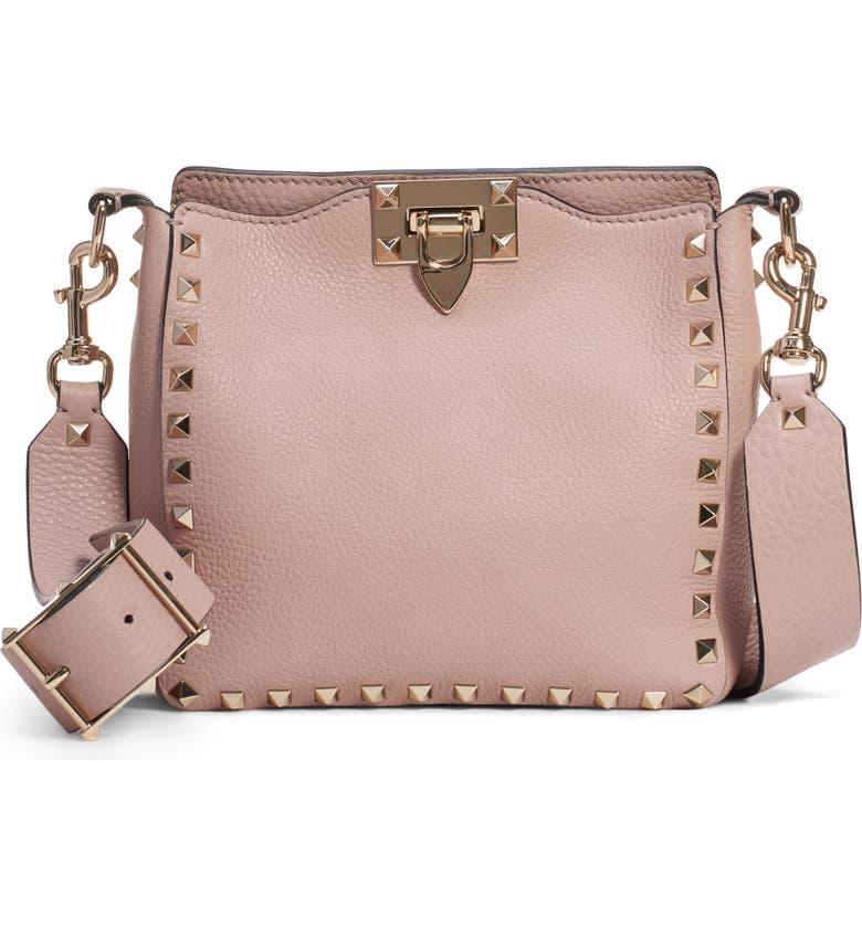 Valentino Rockstud Mini Hobo Crossbody Bag In Poudre  Gold  424eb04591fb8