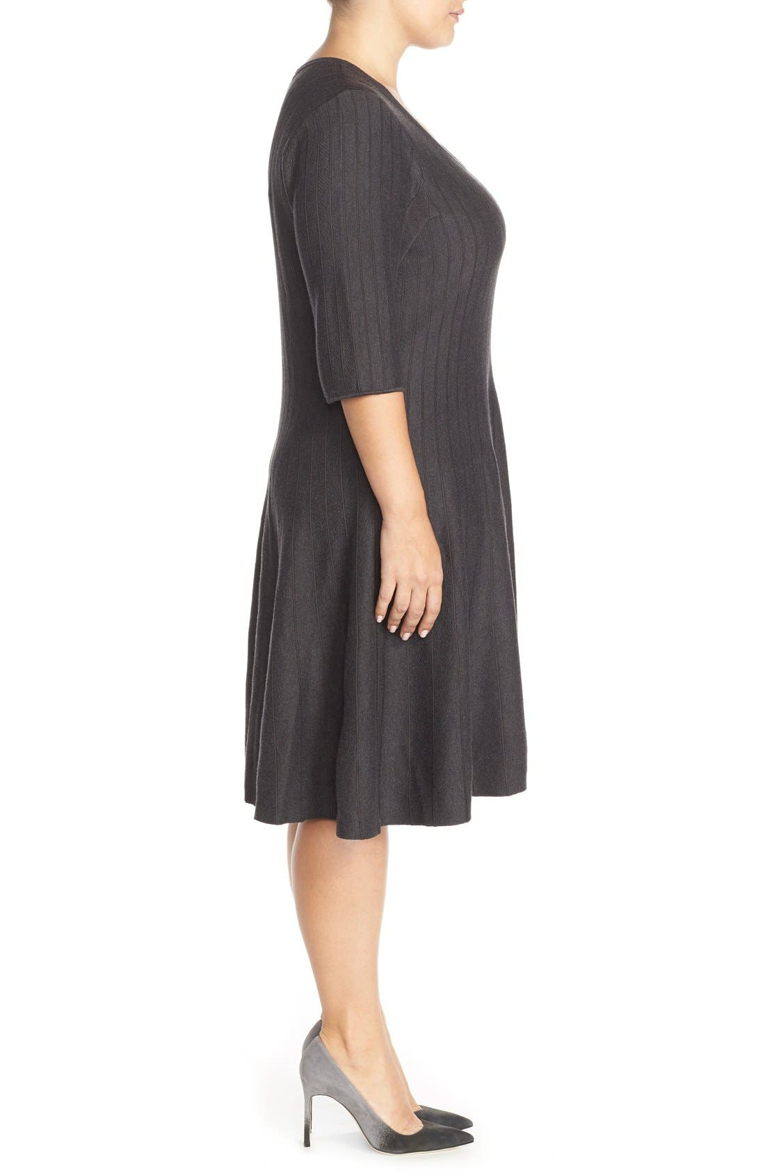 'Twirl' Elbow Sleeve Knit Fit & Flare Dress,                             Alternate thumbnail 4, color,                             PHANTOM HEATHER