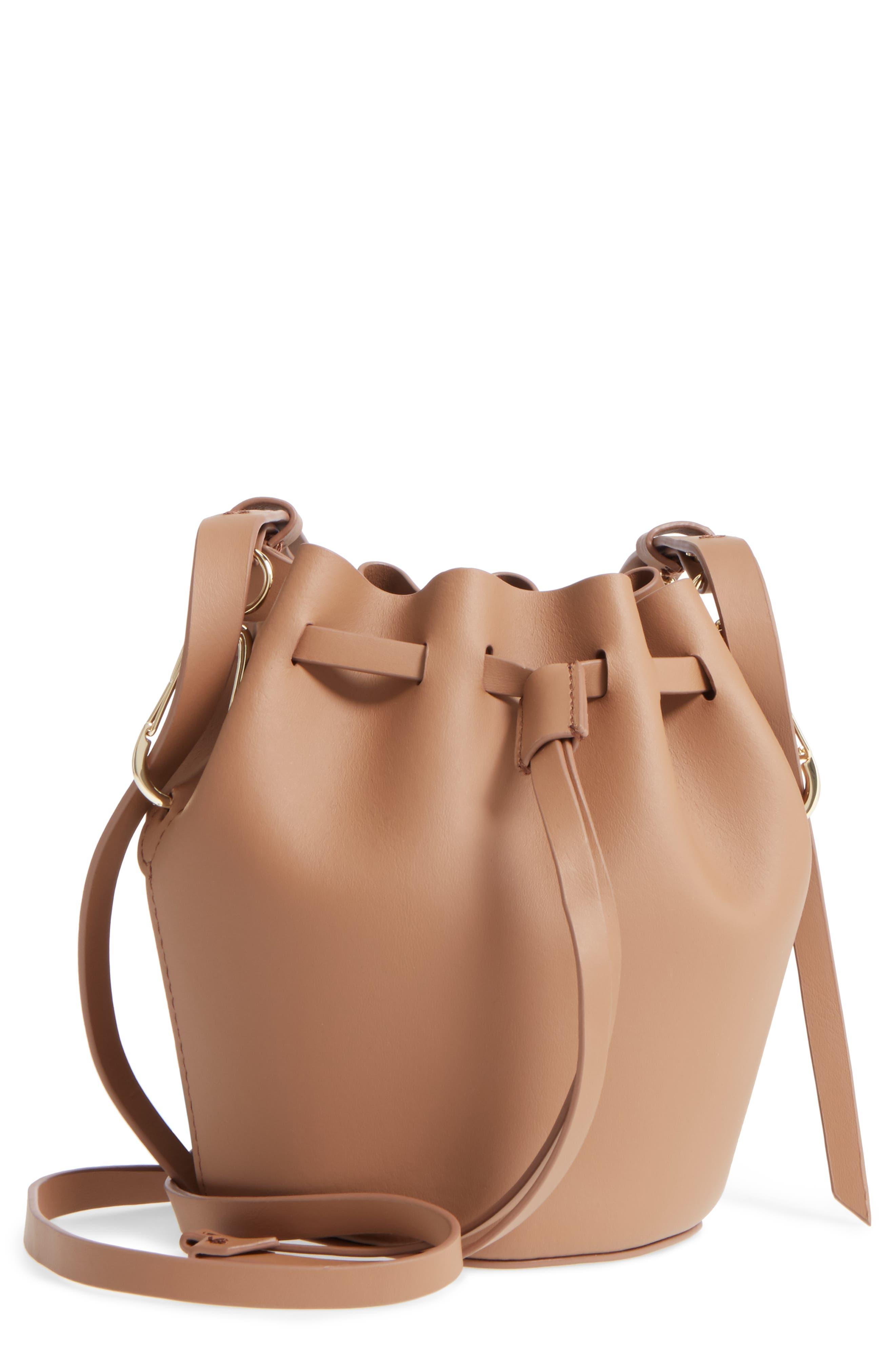 Mini Belay Calfskin Leather Drawstring Bag,                         Main,                         color, 250