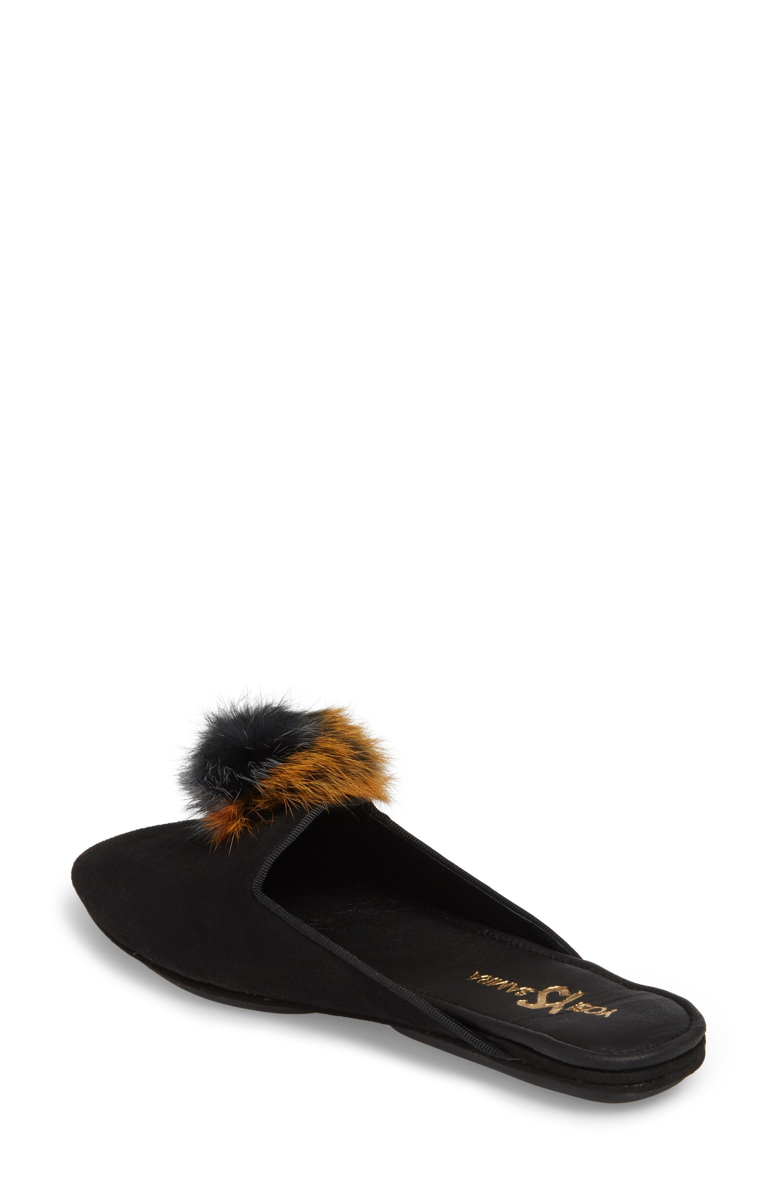 Vidi Genuine Rabbit Fur Loafer Mule,                             Alternate thumbnail 2, color,                             BLACK RABBIT FUR