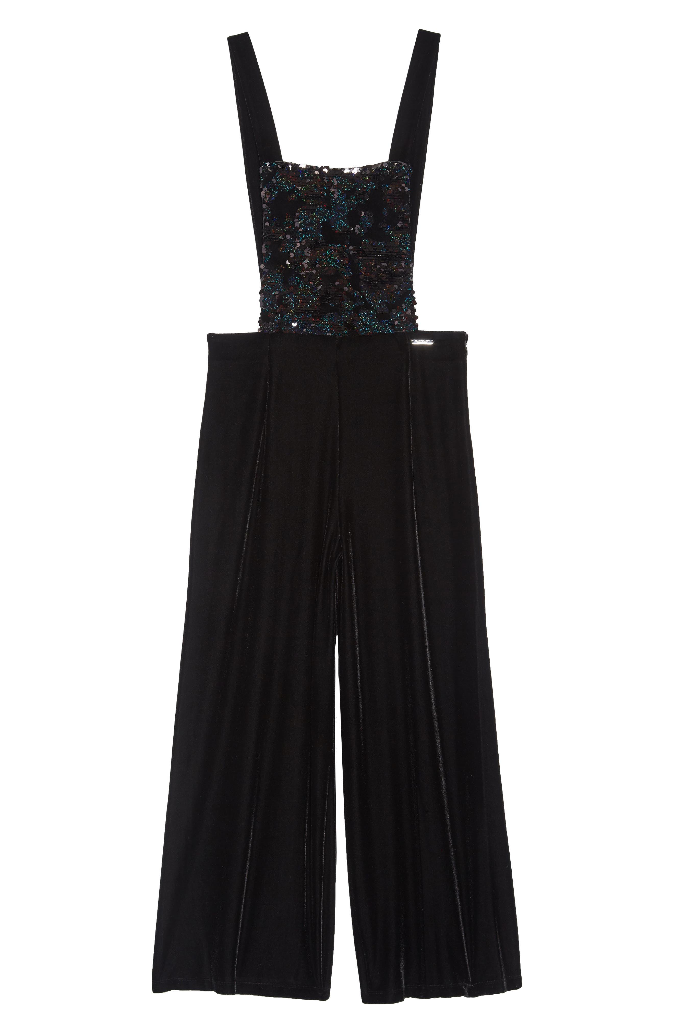 Girls Marciano Sequin Velour Overalls Size 7  Grey
