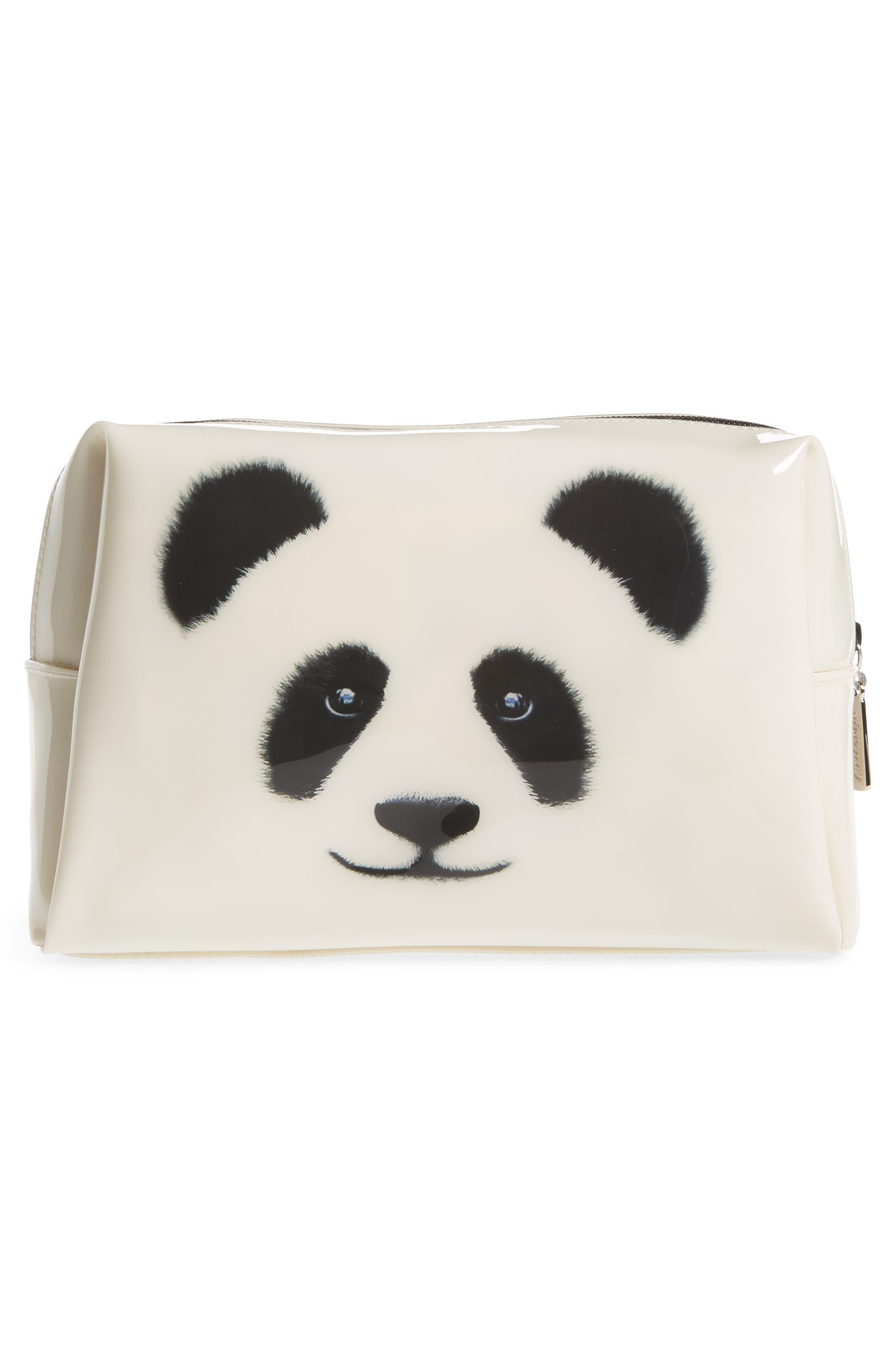 Big Face Panda Large Cosmetics Bag,                             Alternate thumbnail 2, color,                             100