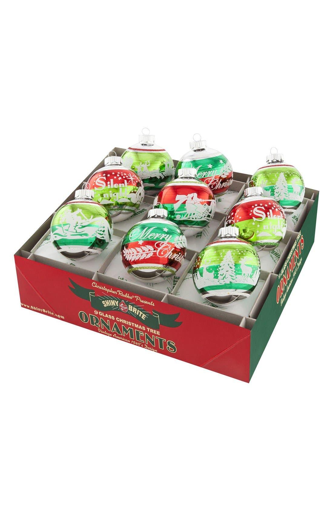 'Holiday Splendor' Flocked Glass Ornaments,                             Main thumbnail 1, color,                             600