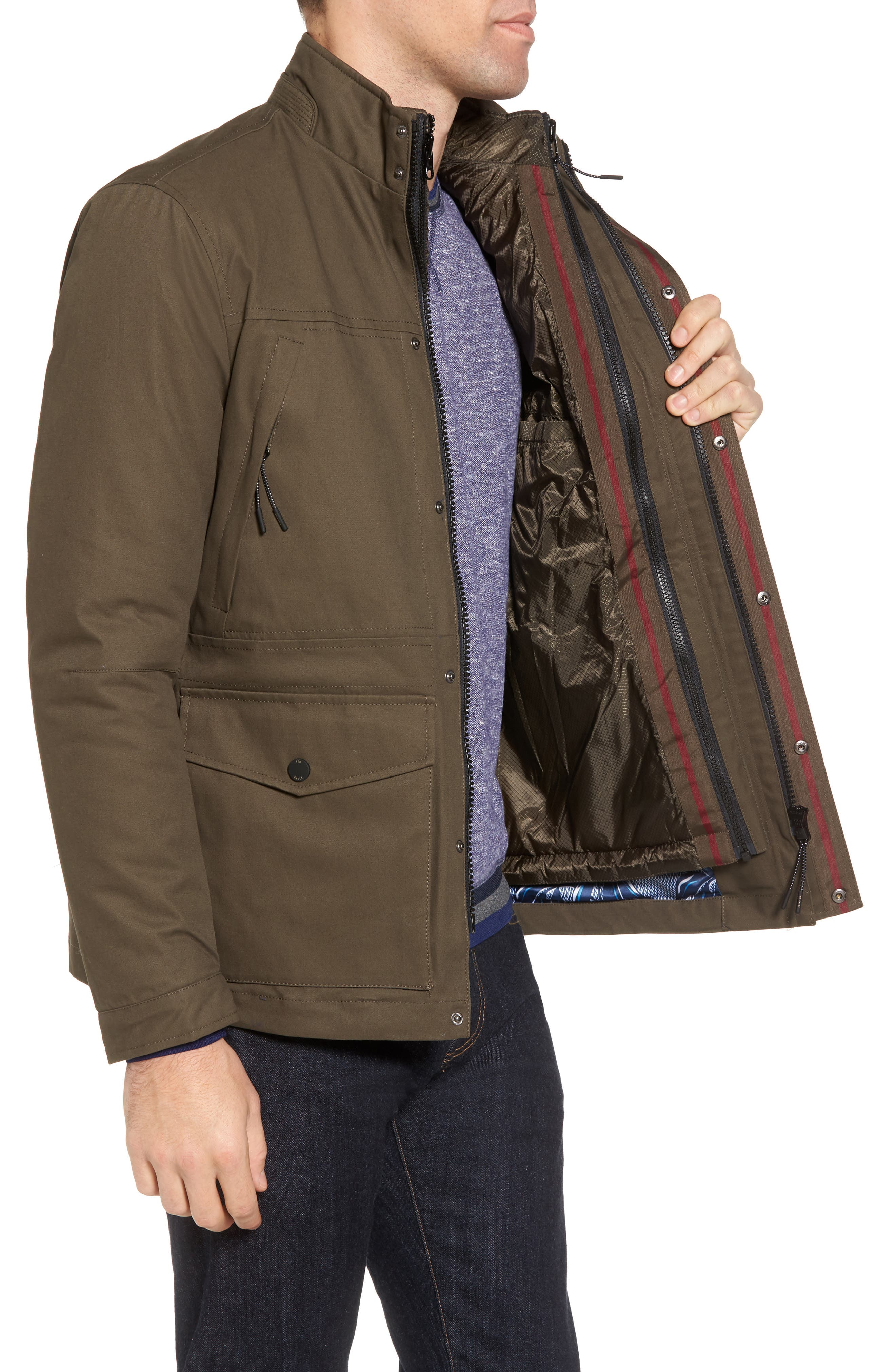 Nilson Trim Fit Quilted Field Jacket,                             Alternate thumbnail 3, color,                             312