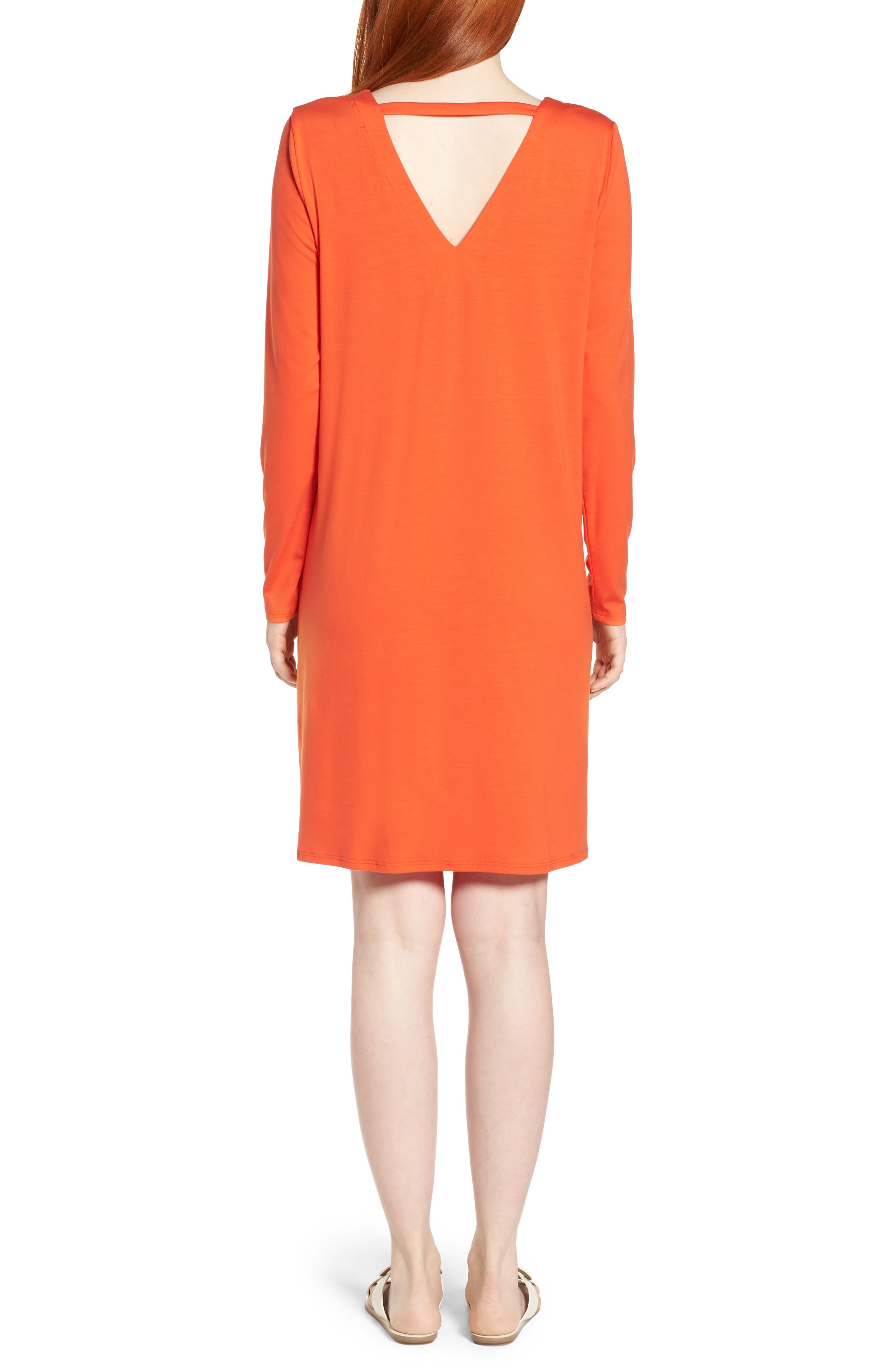 V-Back Stretch Tencel<sup>®</sup> Lyocell Shift Dress,                             Alternate thumbnail 4, color,