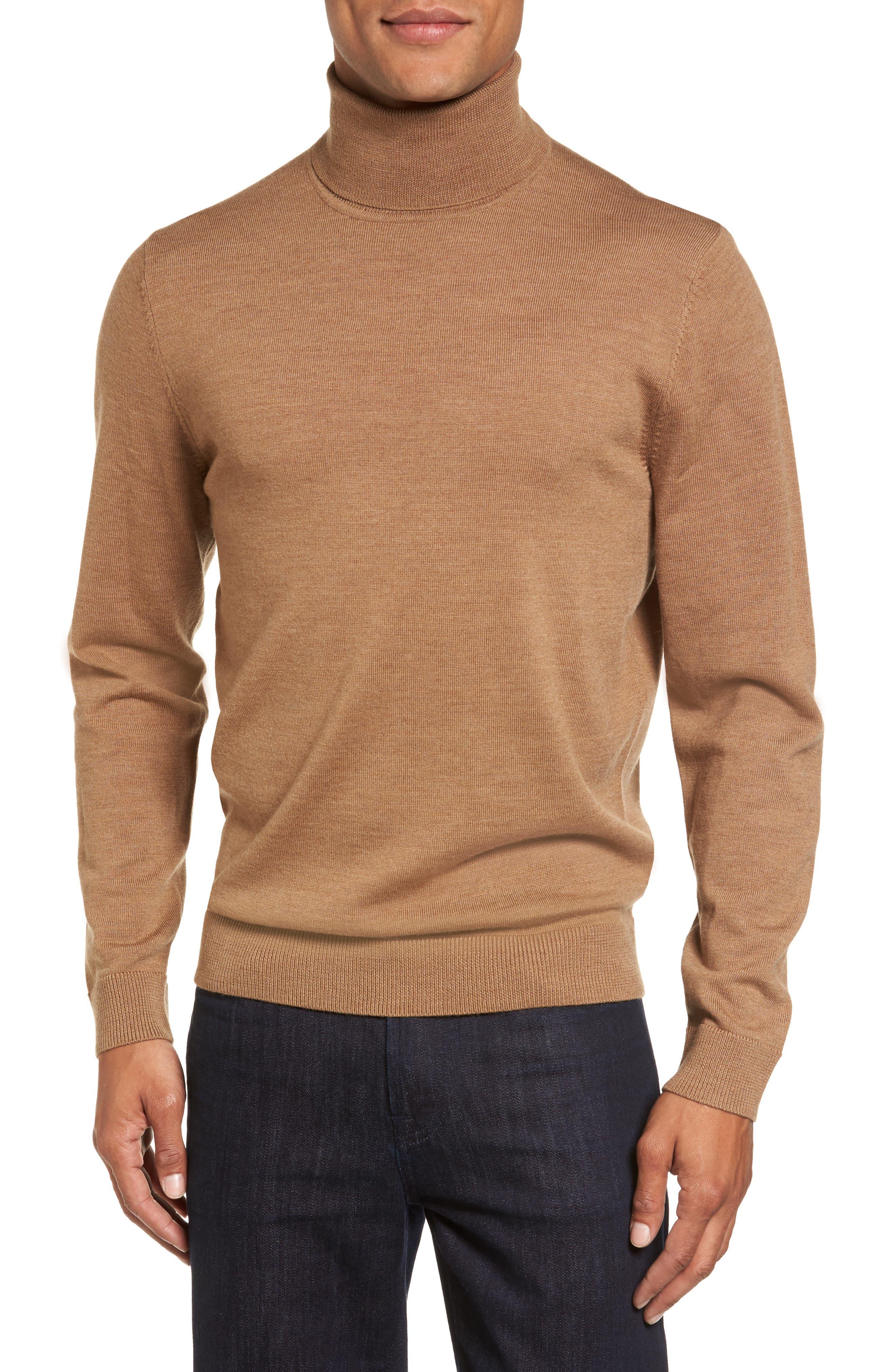 Merino Wool Turtleneck Sweater,                         Main,                         color, BROWN BEAR