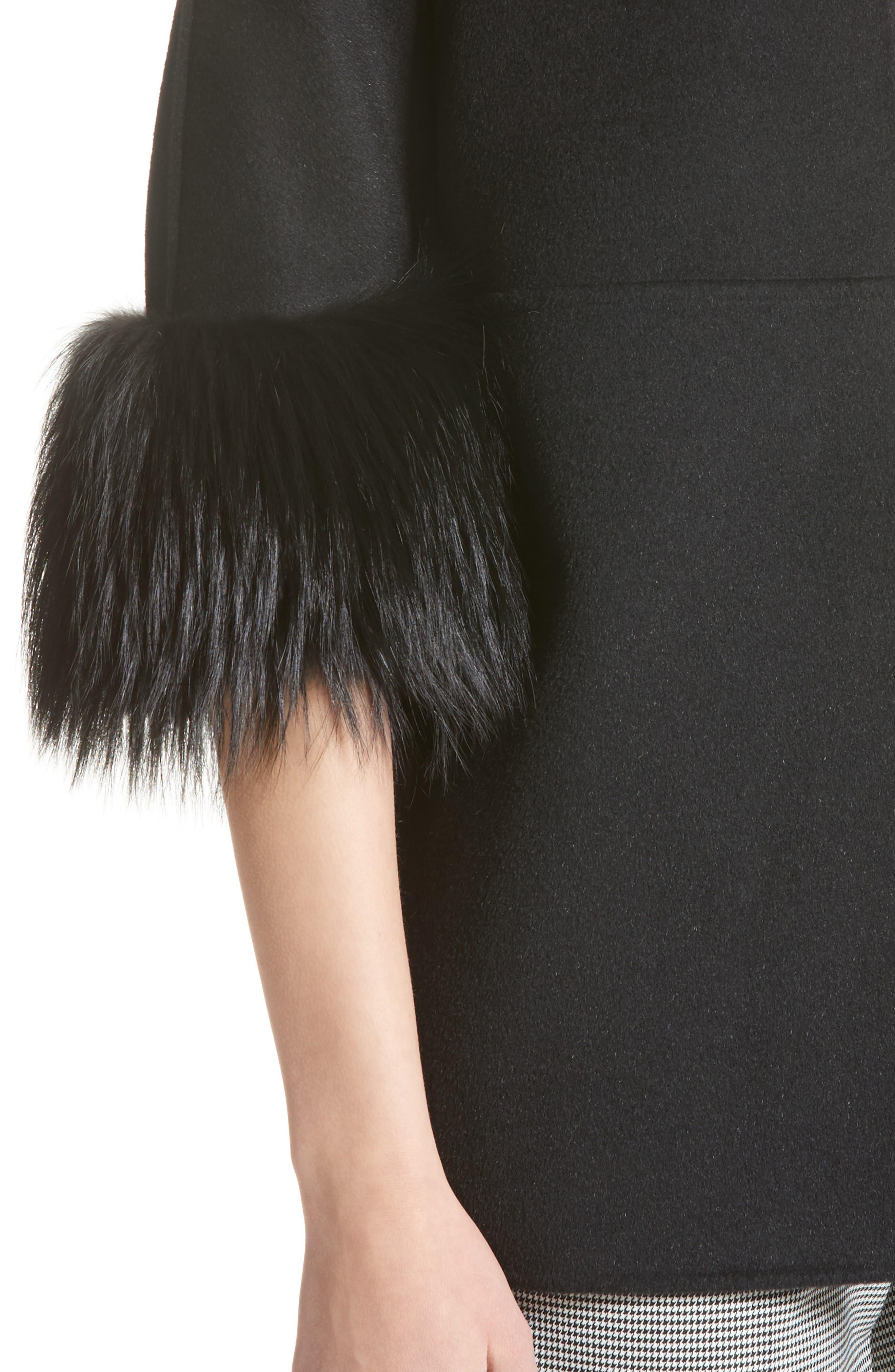 Genuine Fox Fur Trim Wool Blend Jacket,                             Alternate thumbnail 4, color,                             001