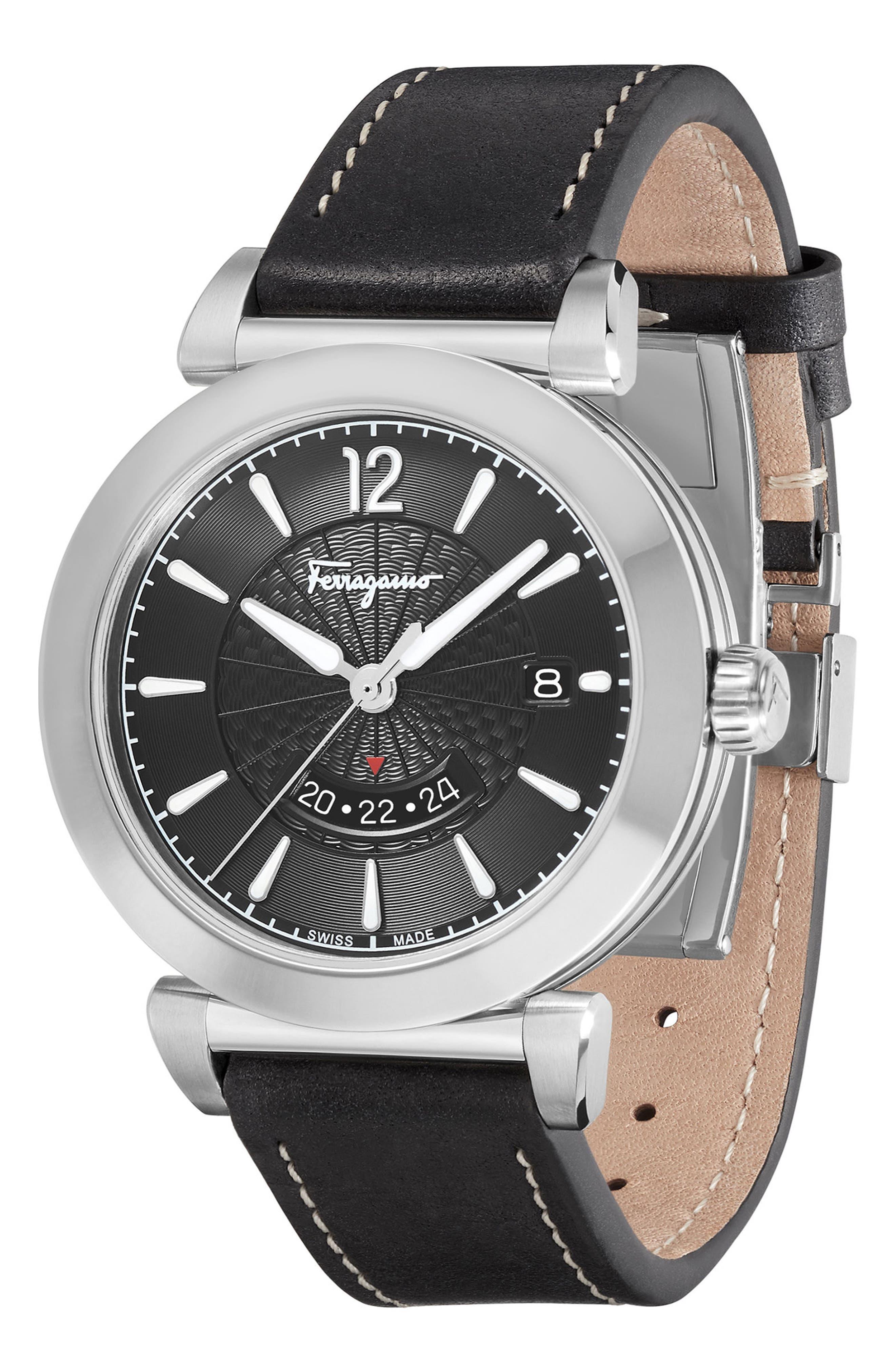 Feroni Leather Strap Watch, 40mm,                             Alternate thumbnail 3, color,                             BLACK/ SILVER