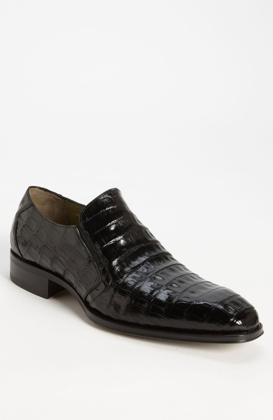 'Fiorello' Crocodile Loafer,                             Main thumbnail 1, color,                             BLACK