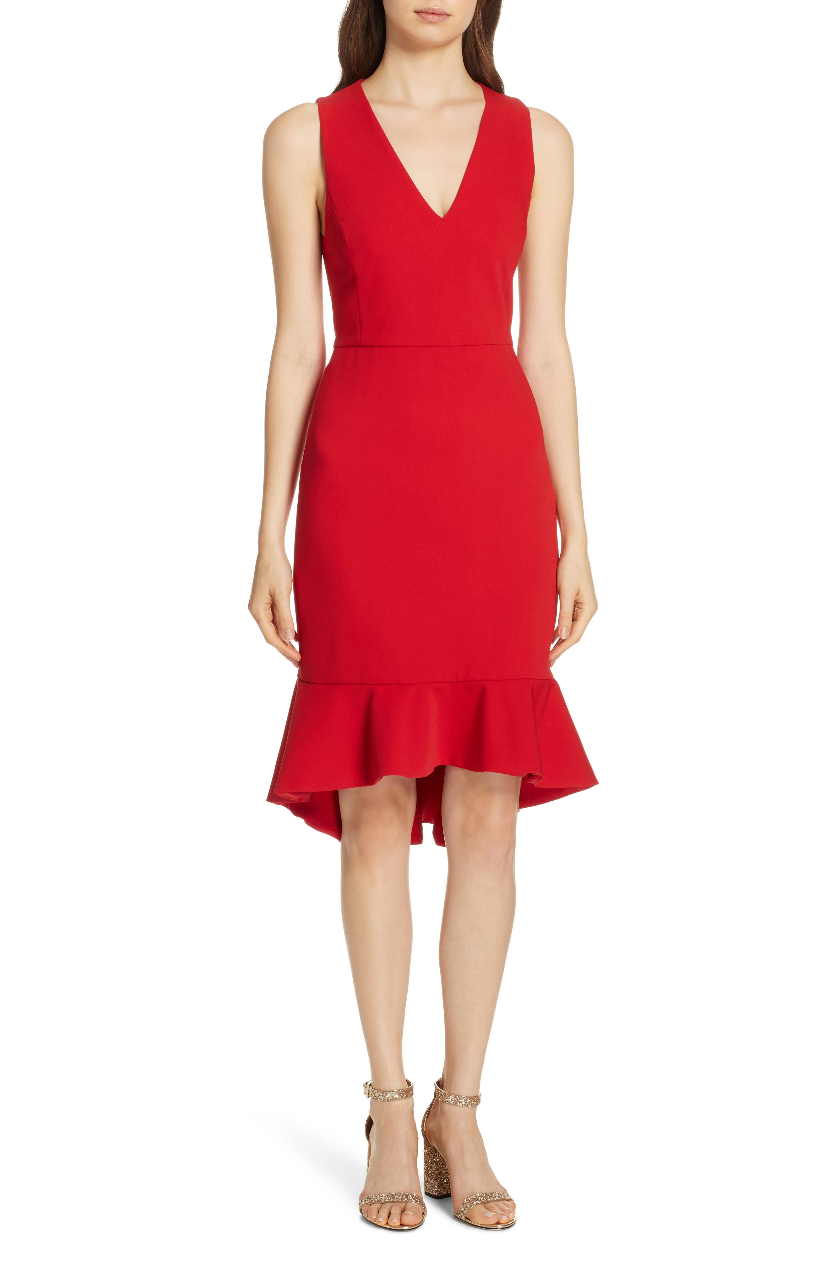 Alice + Olivia Glenna Fitted Dress, Red