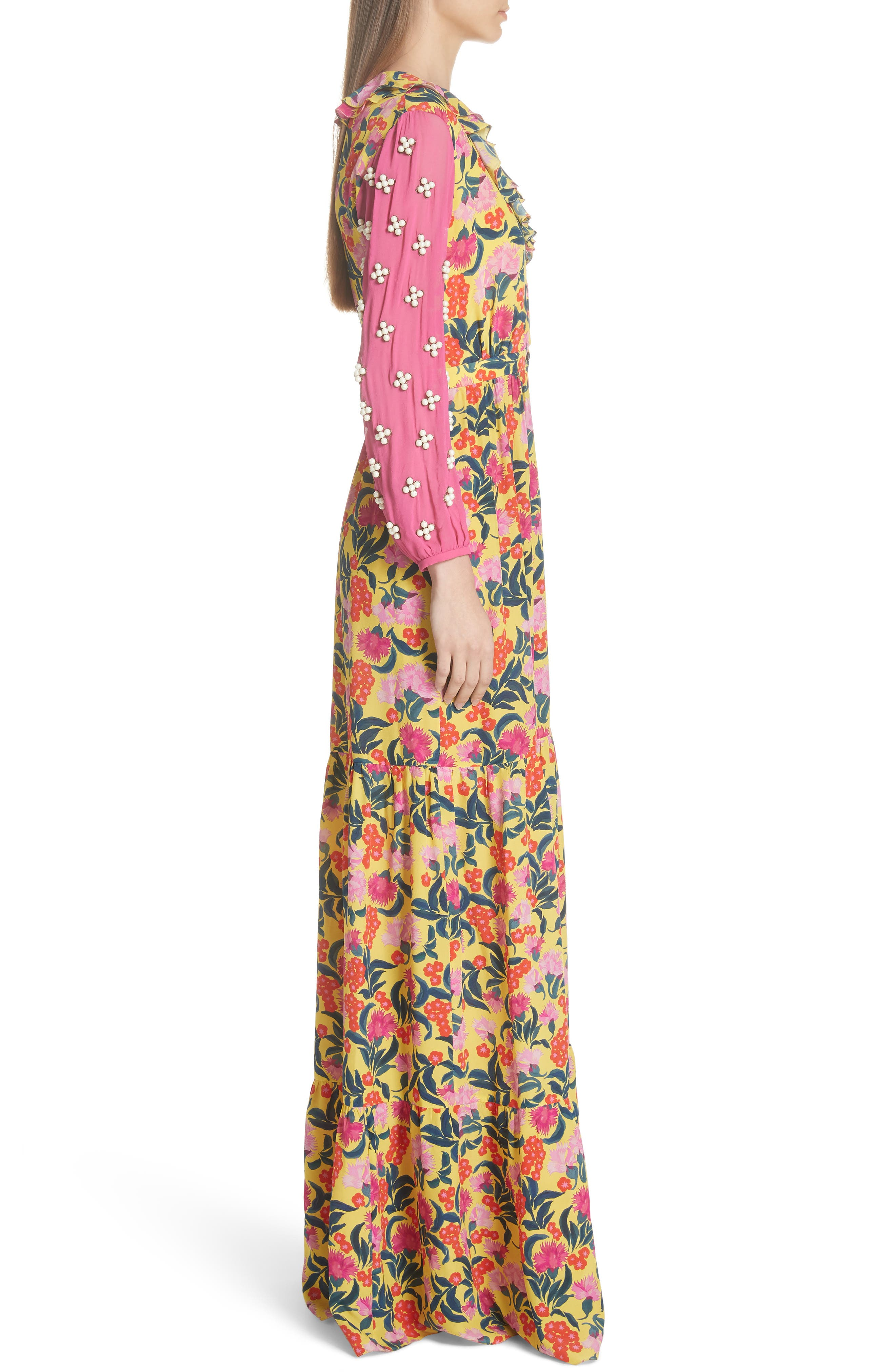 SALONI,                             Ginny Floral Print Embellished Sleeve Silk Dress,                             Alternate thumbnail 3, color,                             720