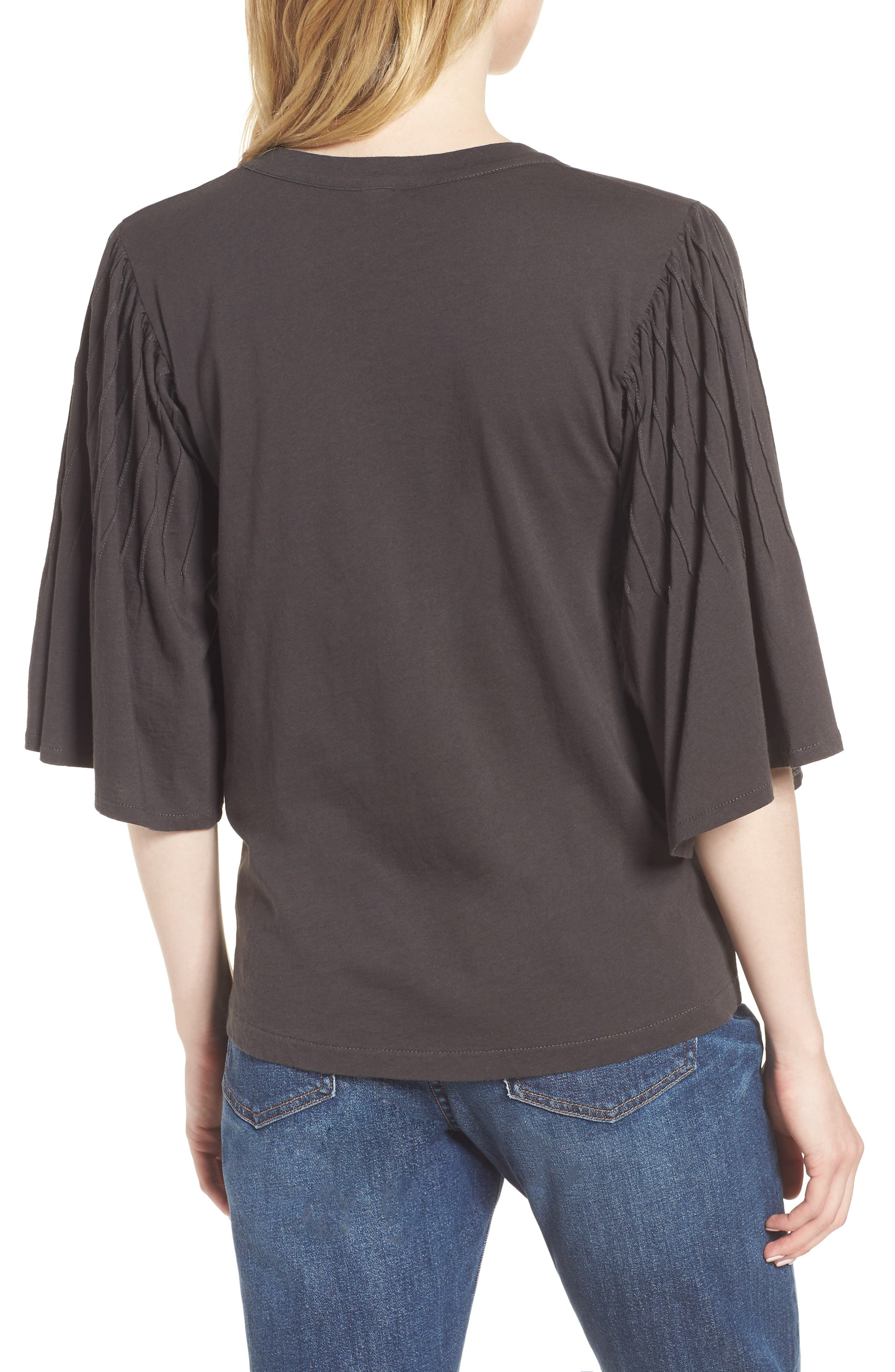Pintuck Sleeve Cotton Blouse,                             Alternate thumbnail 2, color,                             010