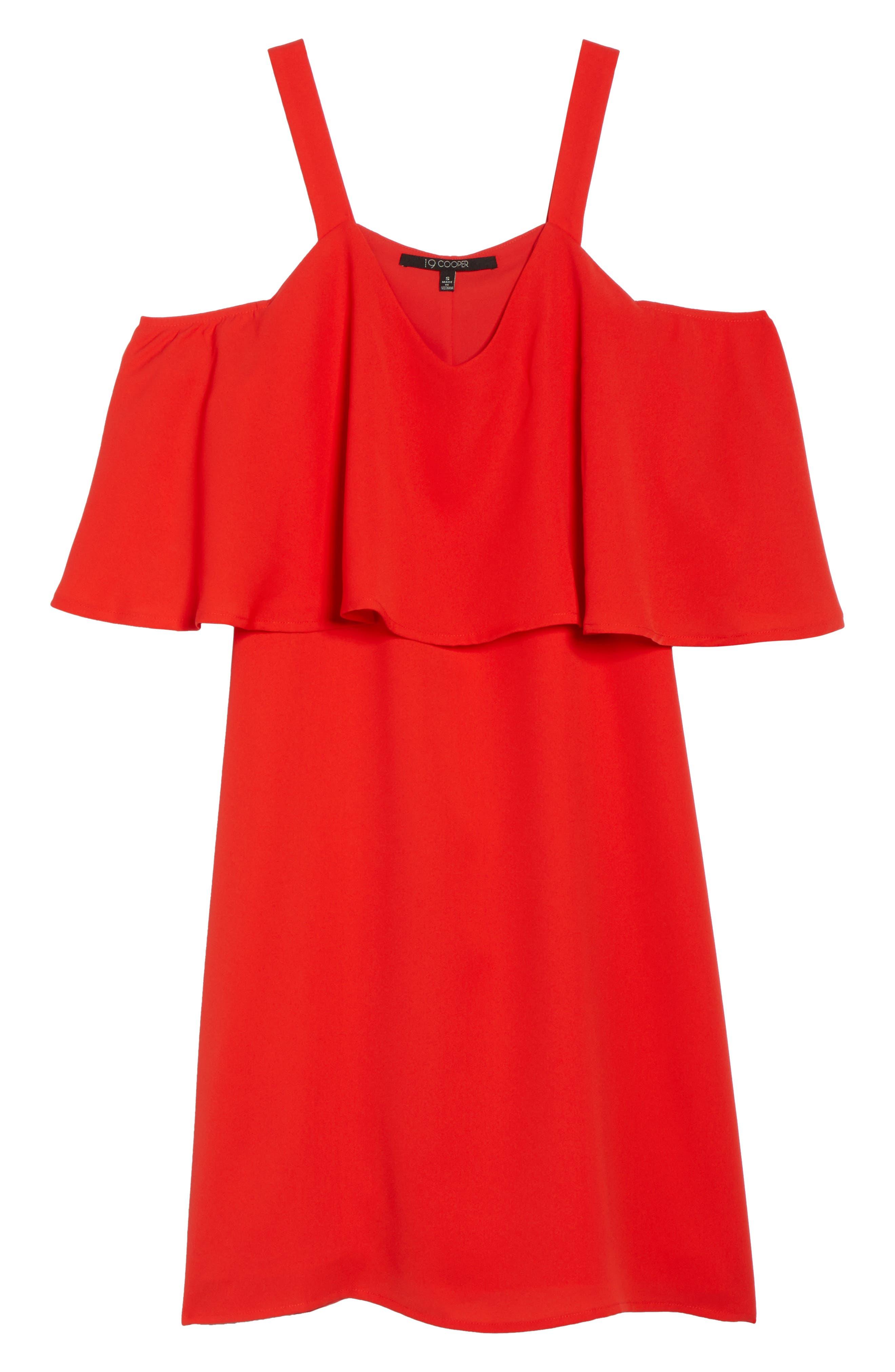Crepe Cold Shoulder Dress,                             Alternate thumbnail 6, color,