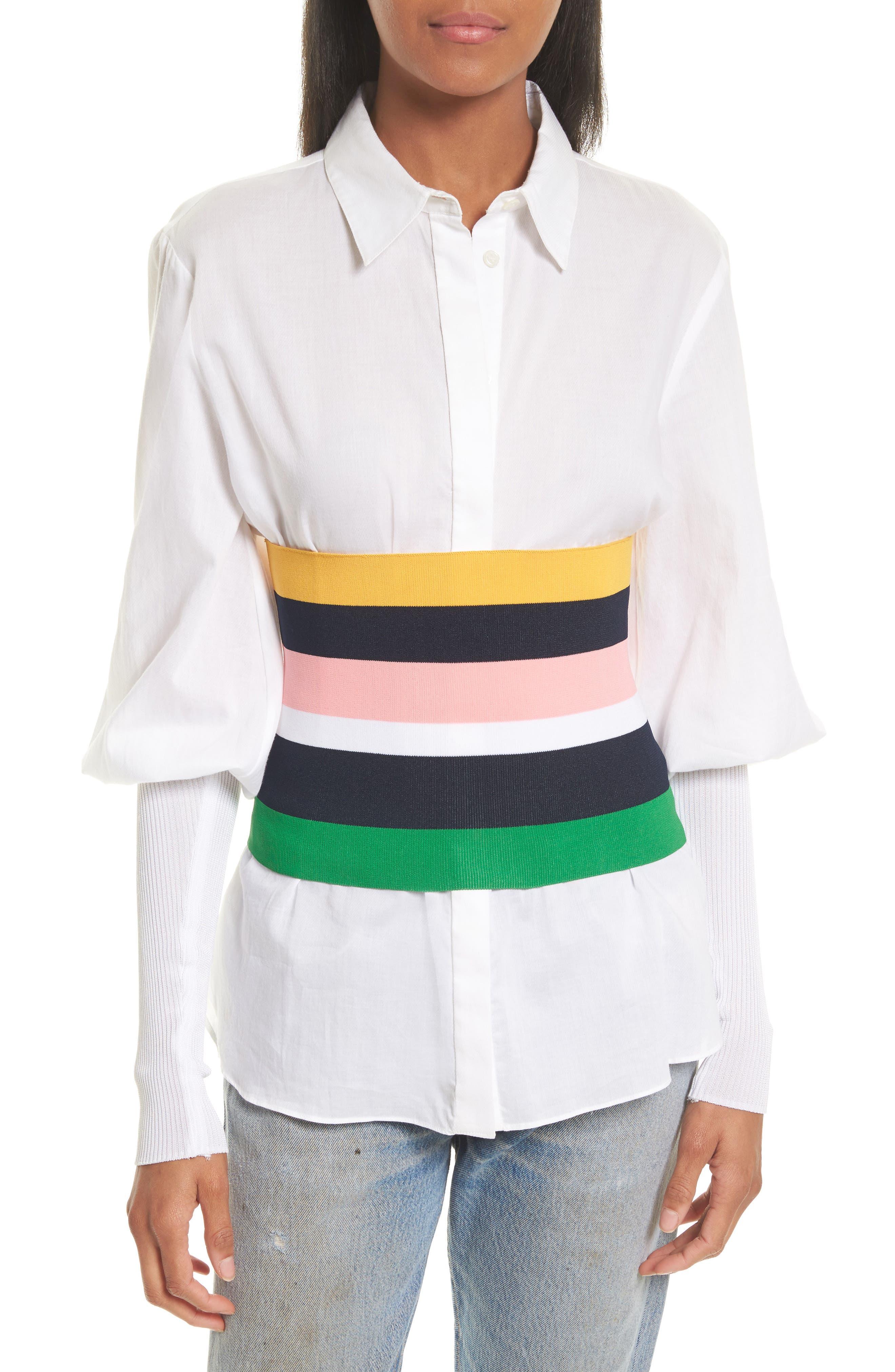 Rib Knit Stripe Tube Corset,                             Main thumbnail 1, color,                             001