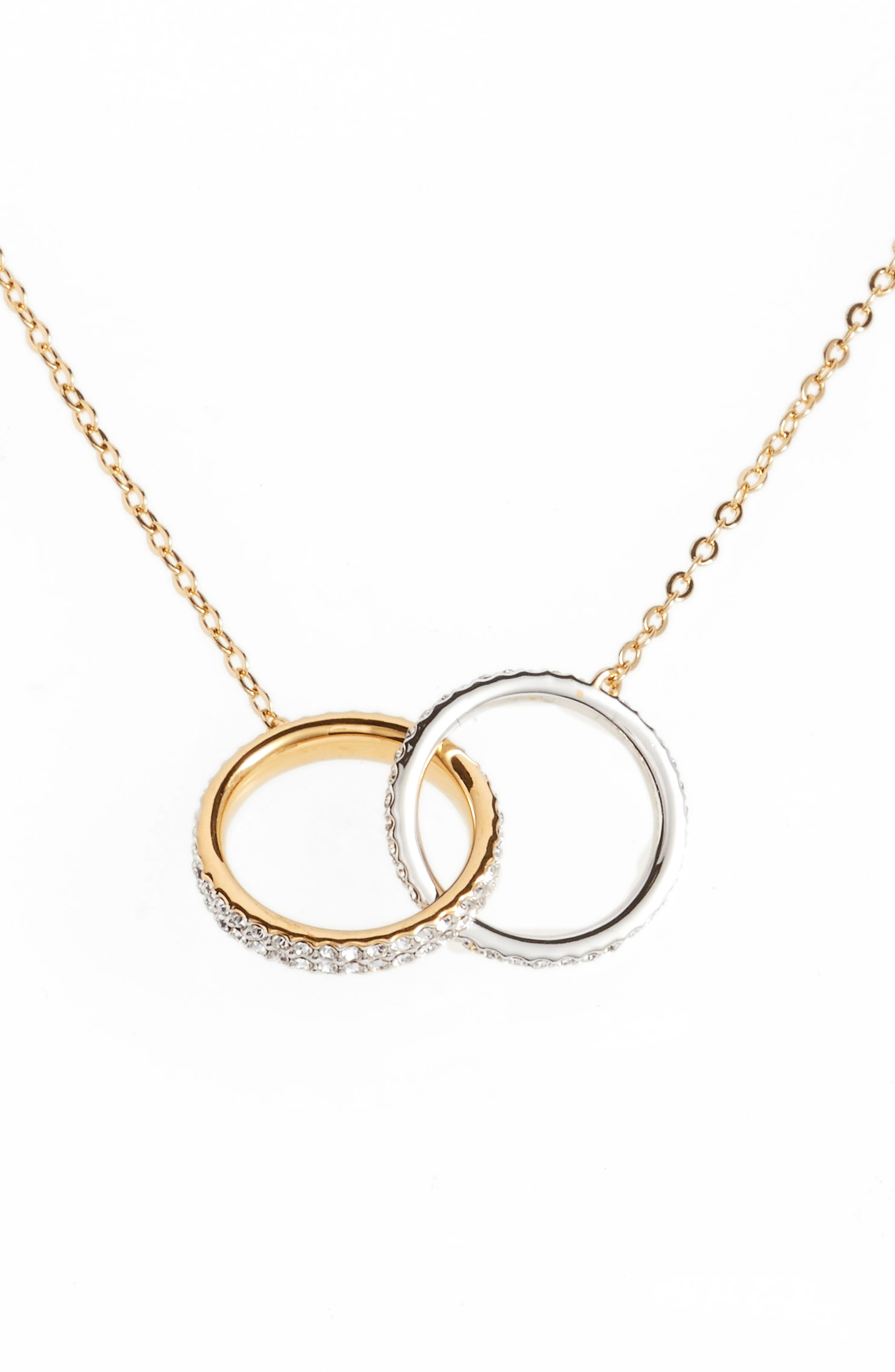 Trinity Double Link Pendant Necklace,                             Main thumbnail 1, color,                             GOLD / SILVER